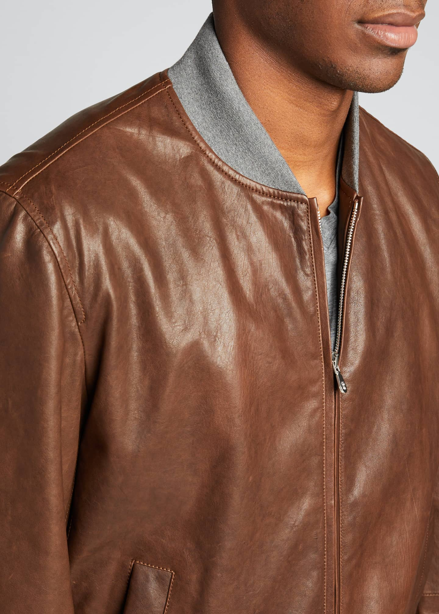 Image 4 of 5: Men's Knit-Trim Leather Jacket