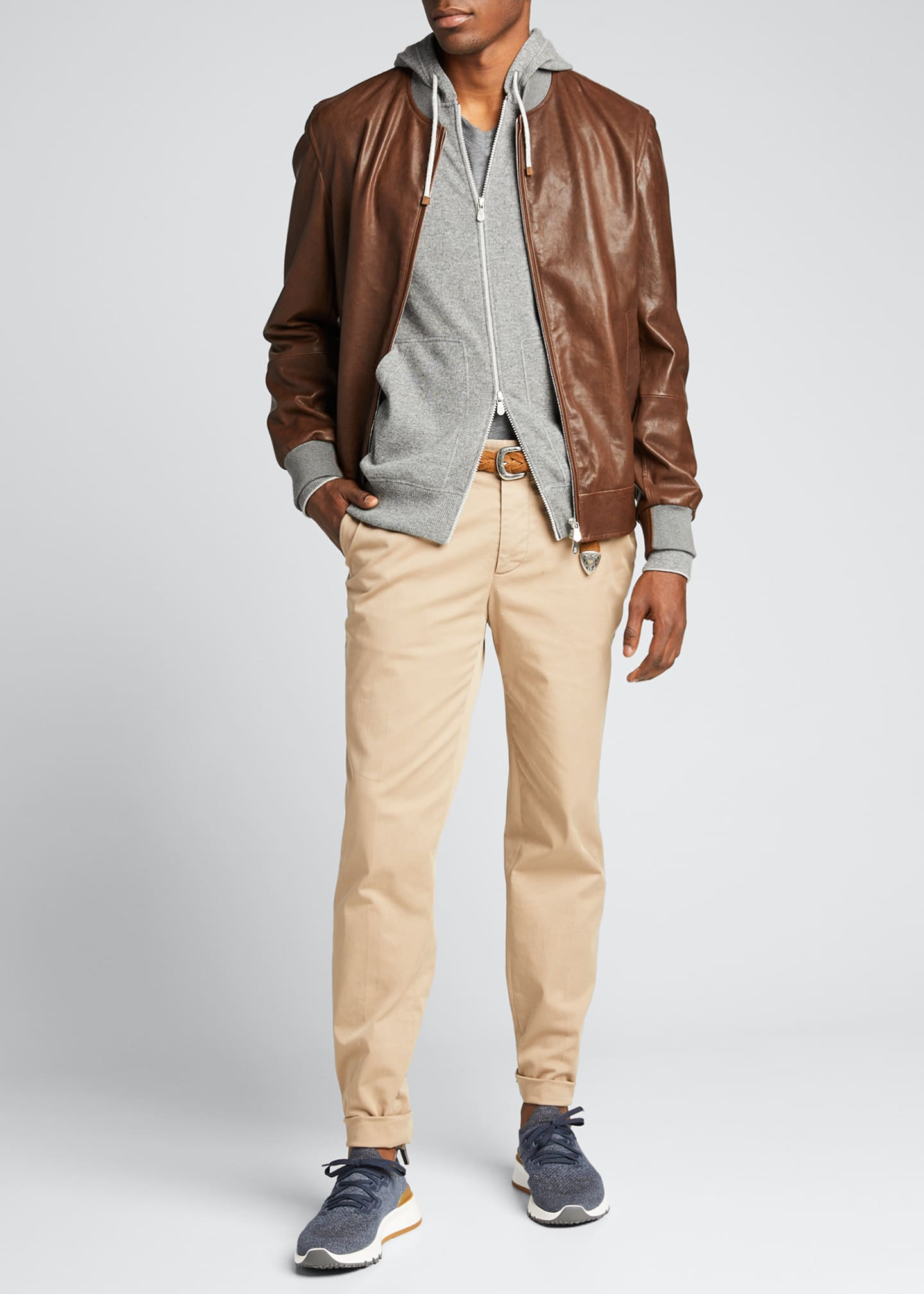 Image 1 of 5: Men's Knit-Trim Leather Jacket