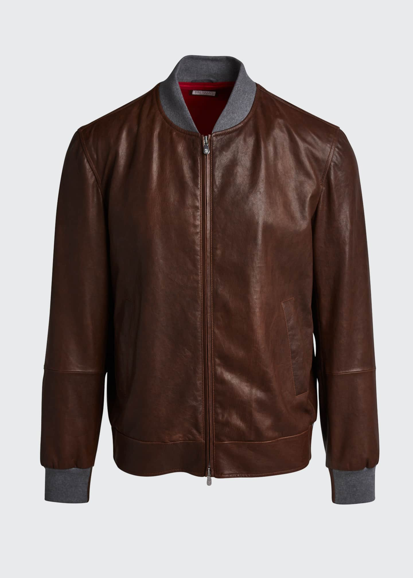 Image 5 of 5: Men's Knit-Trim Leather Jacket