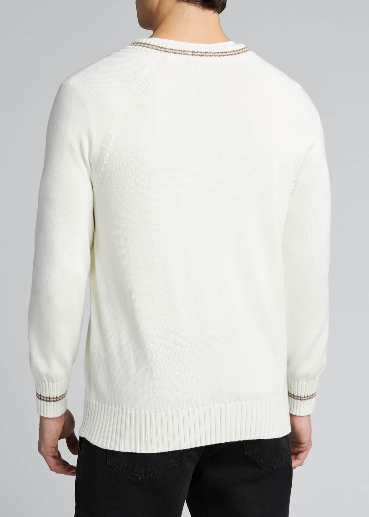 Image 2 of 5: Men's V-Neck Sweater with Contrast Tipping