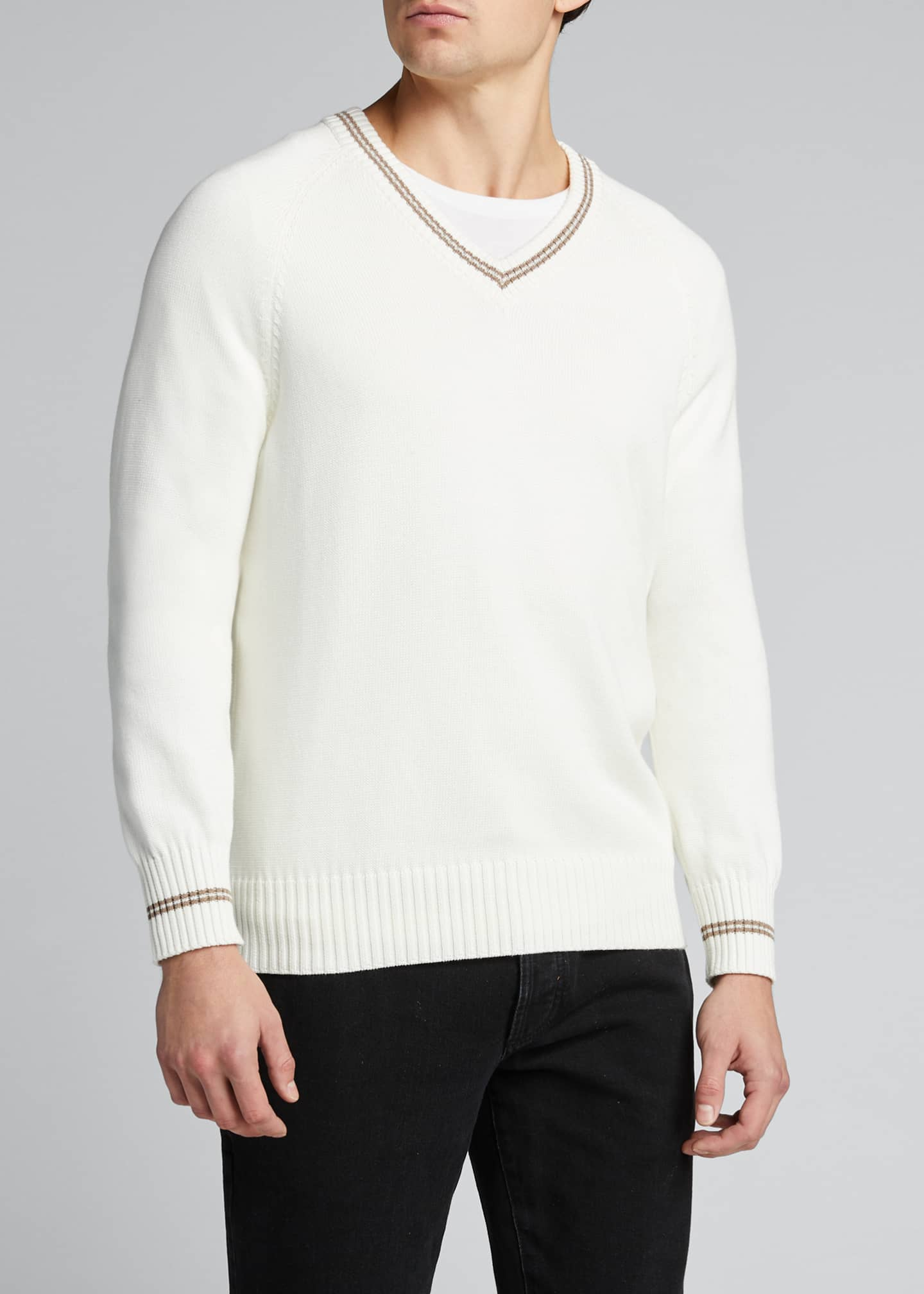 Image 3 of 5: Men's V-Neck Sweater with Contrast Tipping