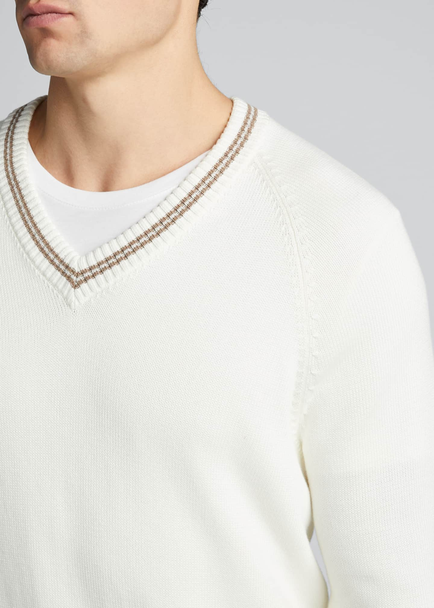 Image 4 of 5: Men's V-Neck Sweater with Contrast Tipping