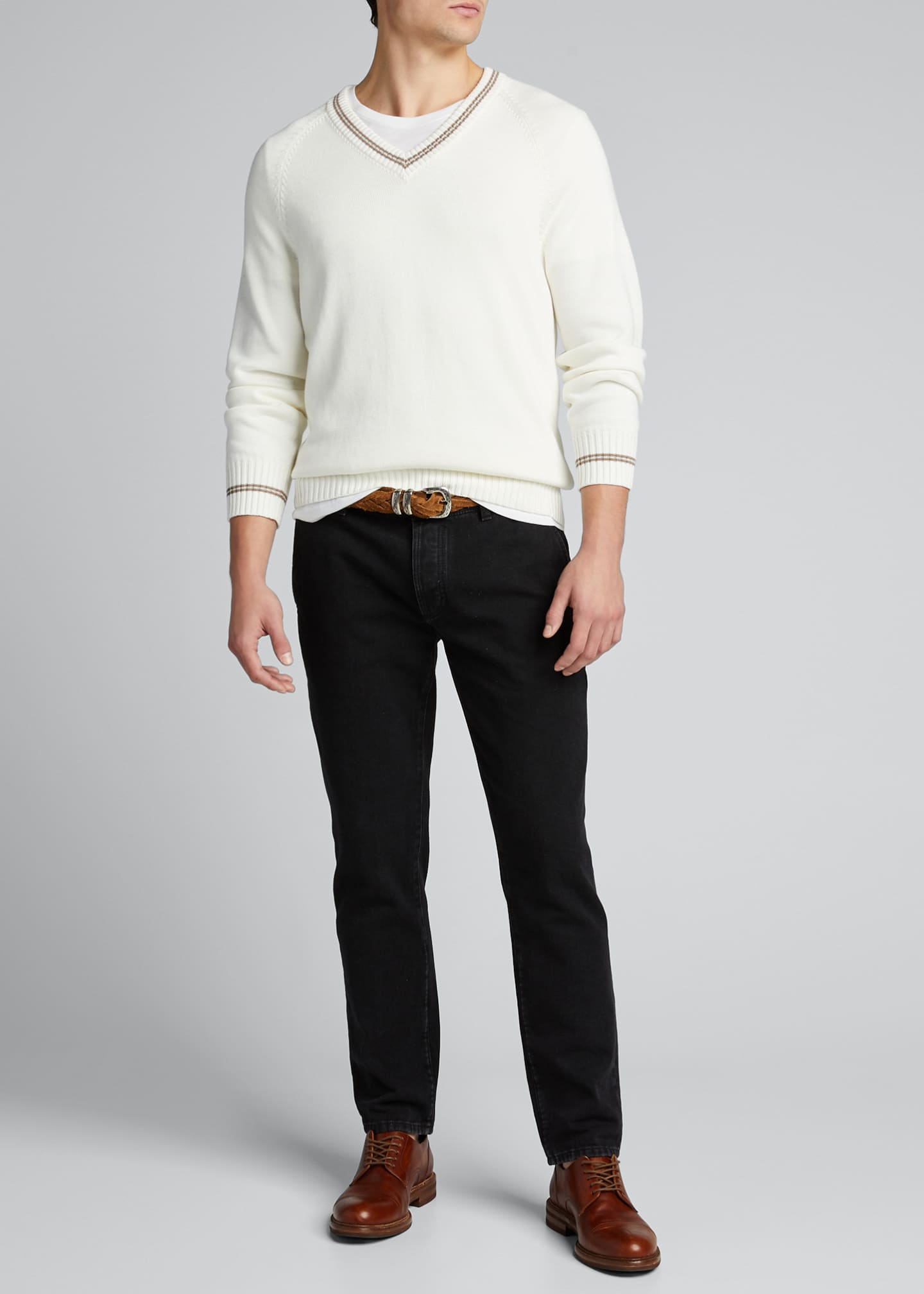 Image 1 of 5: Men's V-Neck Sweater with Contrast Tipping