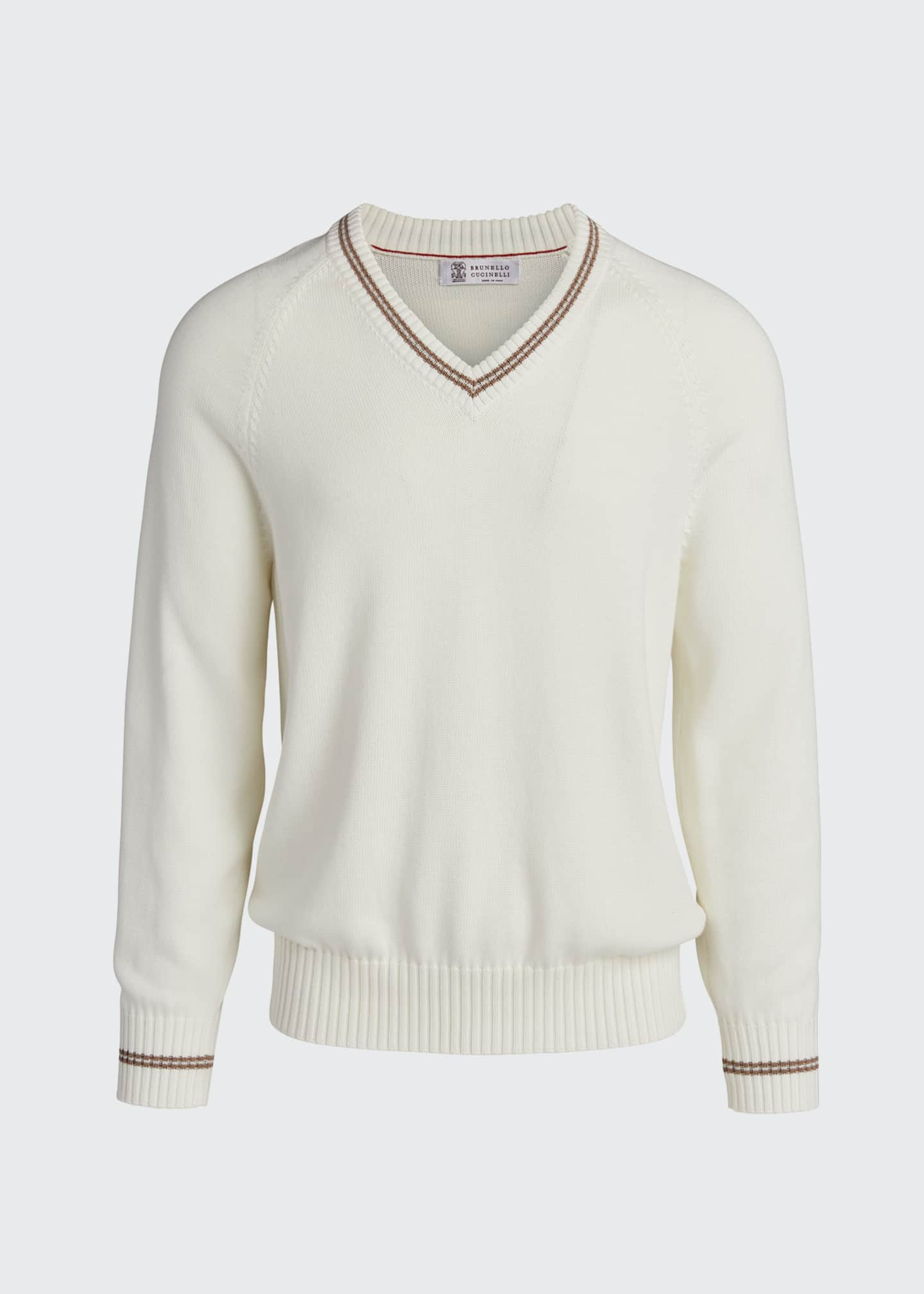 Image 5 of 5: Men's V-Neck Sweater with Contrast Tipping