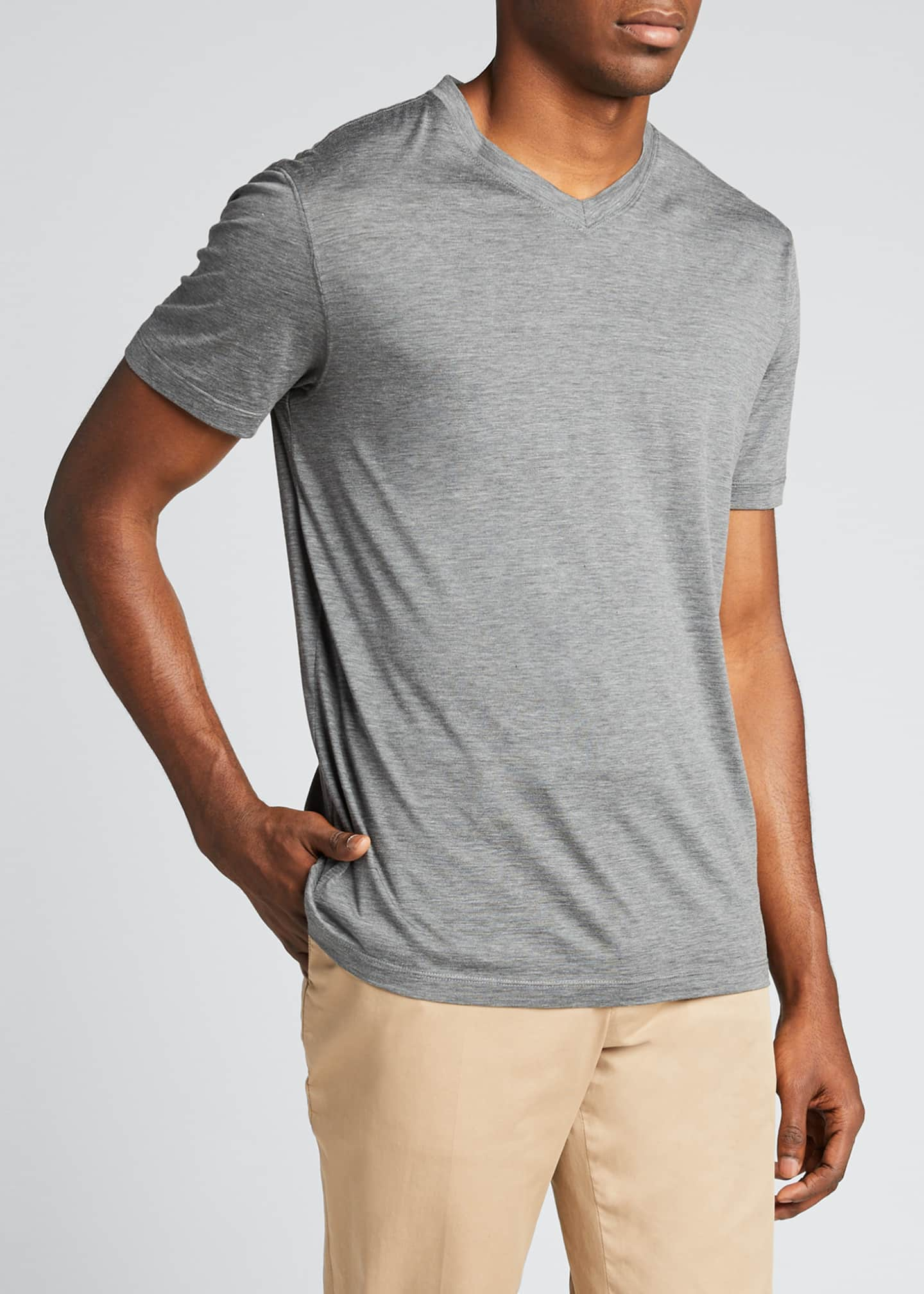 Image 3 of 5: Men's V-Neck Short-Sleeve Sweater T-Shirt