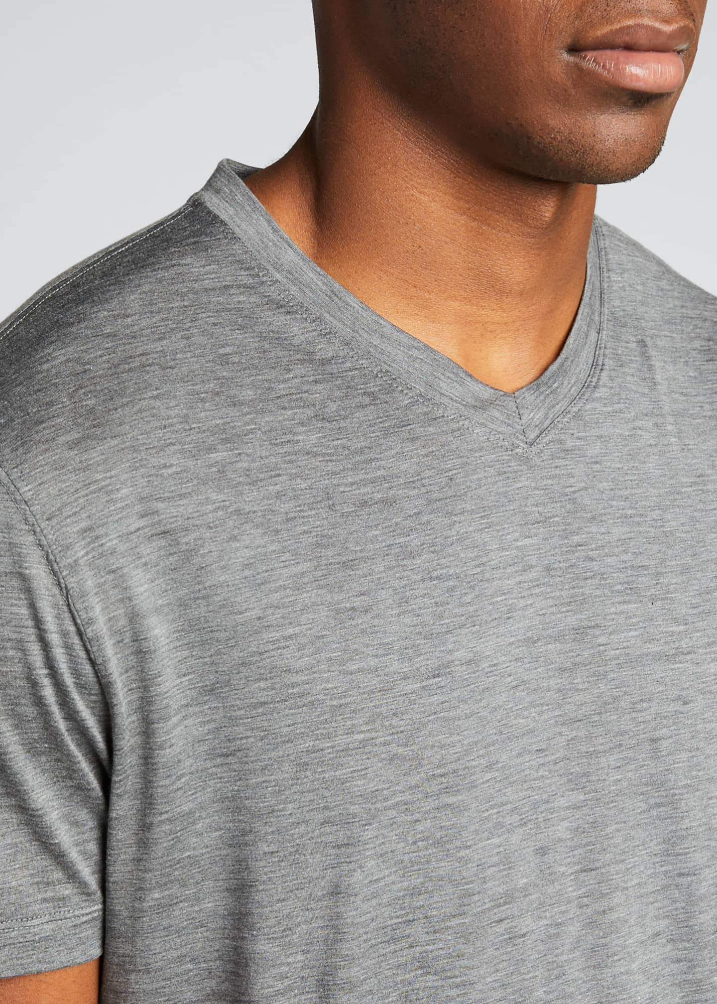 Image 4 of 5: Men's V-Neck Short-Sleeve Sweater T-Shirt