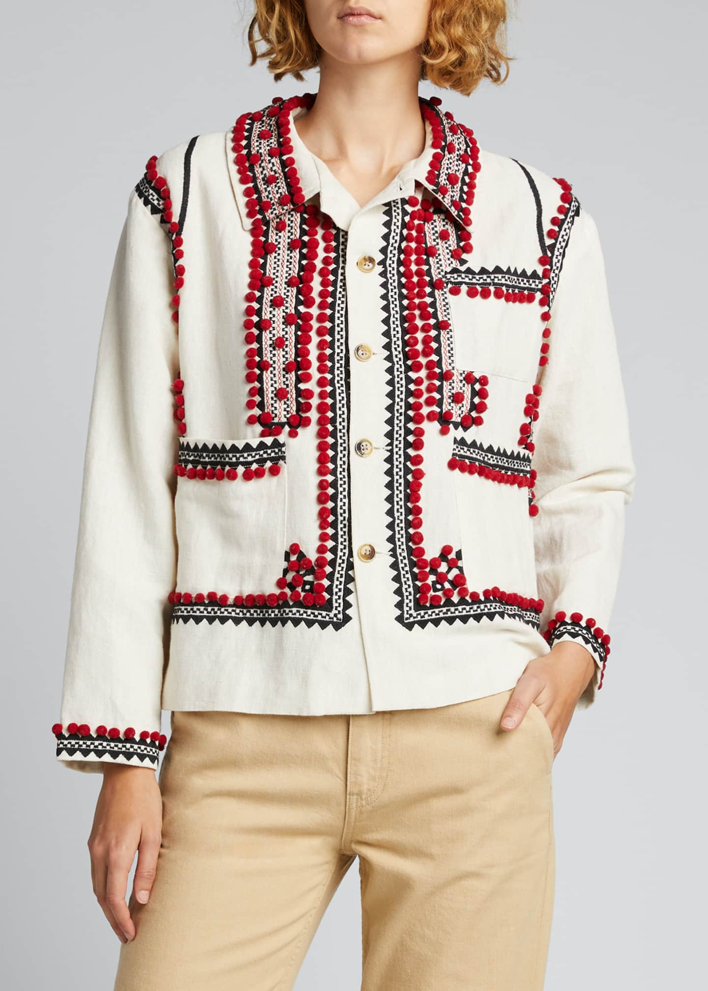 Image 3 of 5: Embroidered Pompom Linen-Cotton Jacket