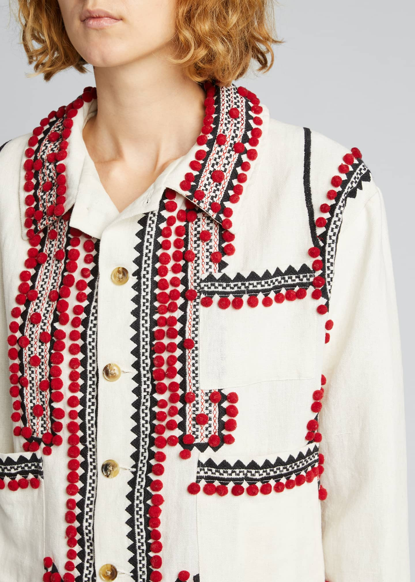 Image 4 of 5: Embroidered Pompom Linen-Cotton Jacket