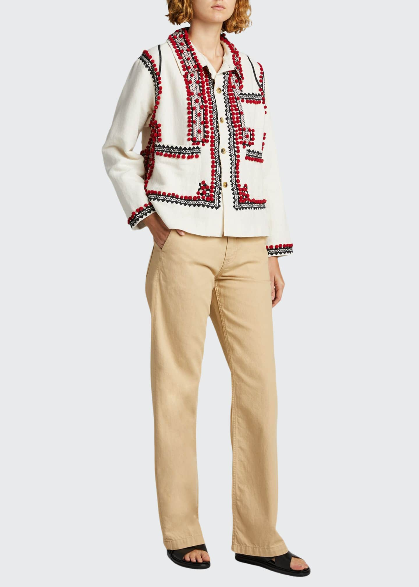 Image 1 of 5: Embroidered Pompom Linen-Cotton Jacket