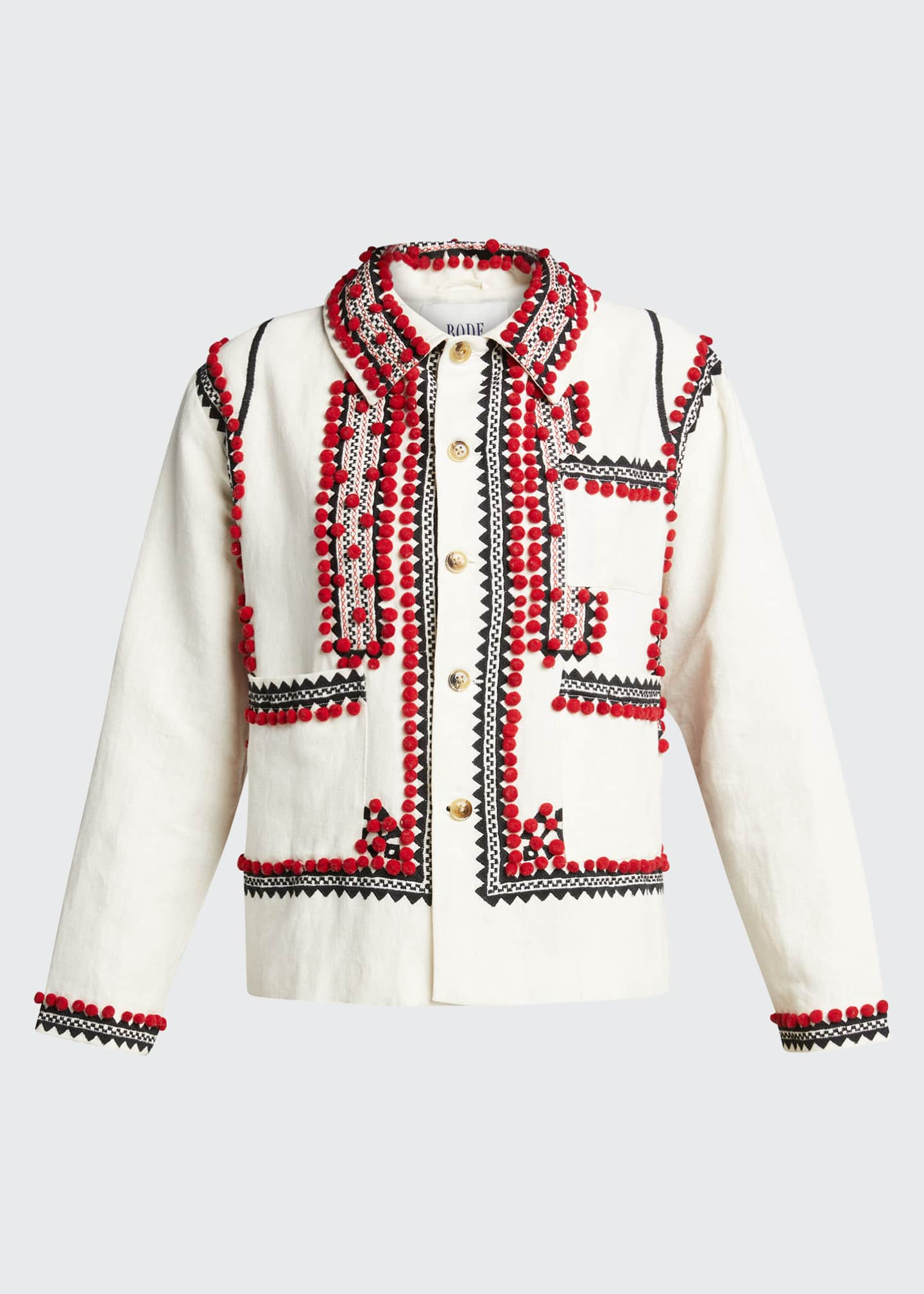 Image 5 of 5: Embroidered Pompom Linen-Cotton Jacket