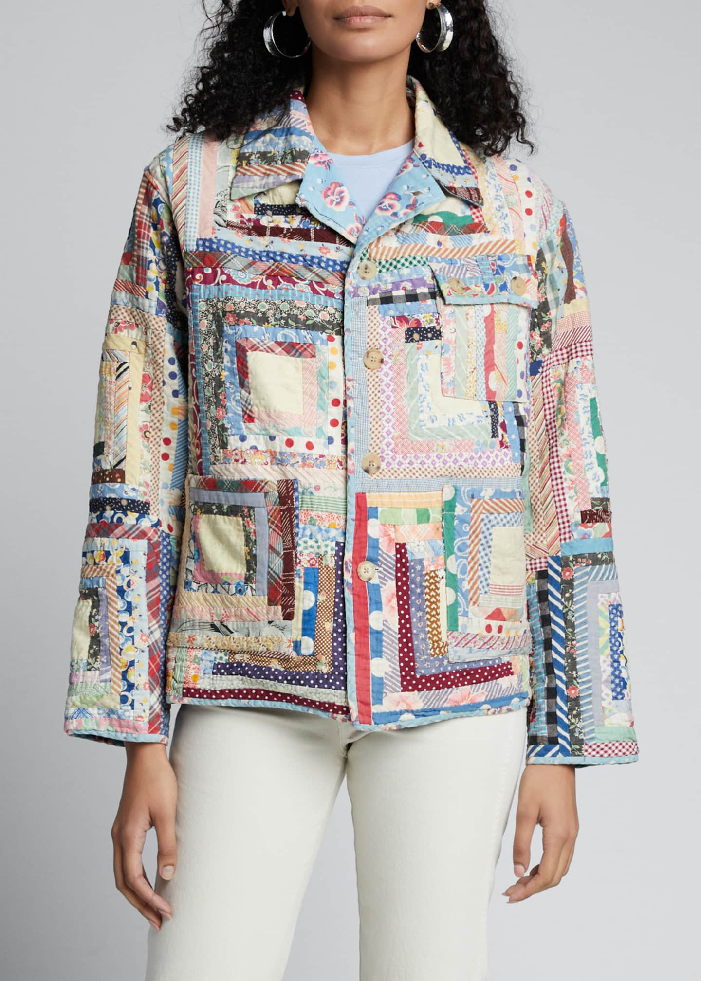 Image 3 of 5: Quilted Patchwork Workwear Jacket