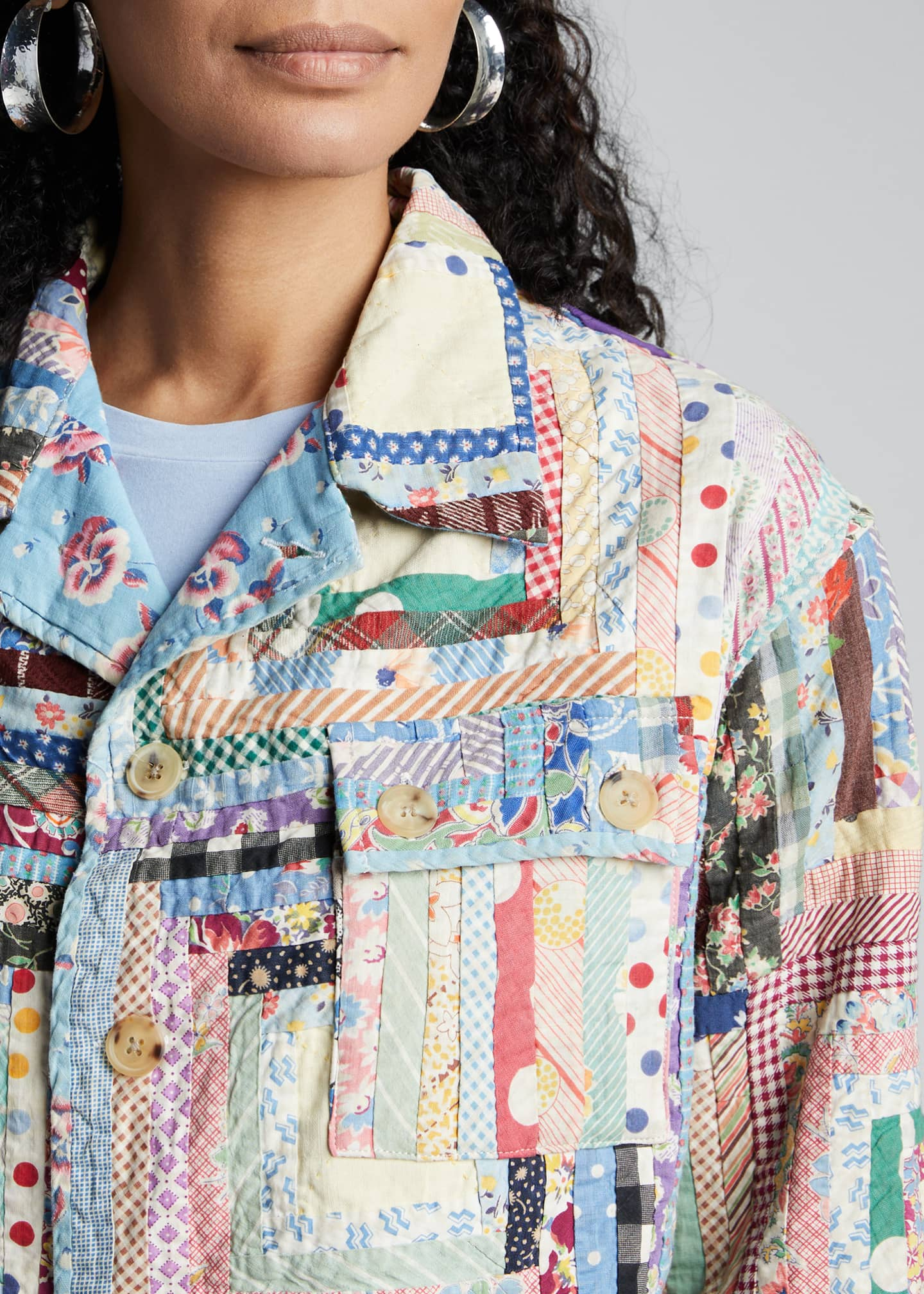 Image 4 of 5: Quilted Patchwork Workwear Jacket