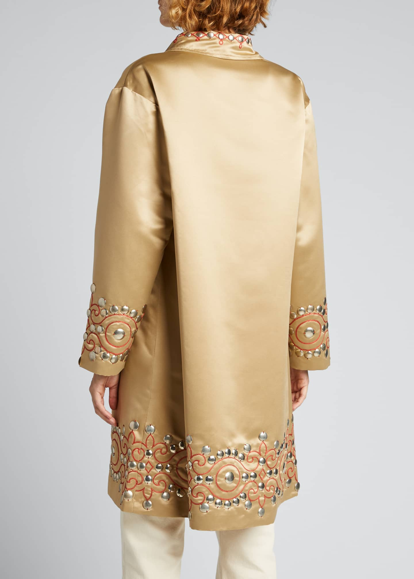 Image 2 of 5: Studded Satin Coat