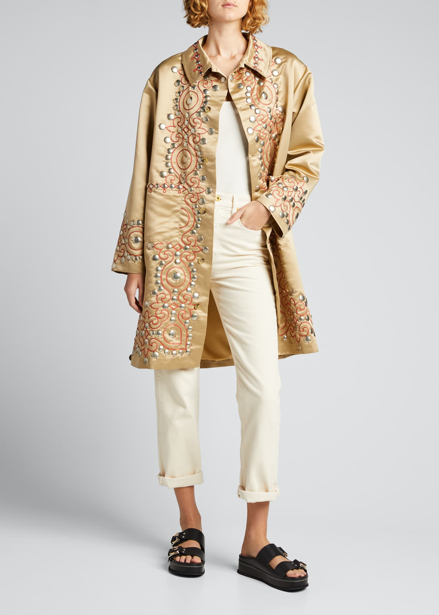 Image 1 of 5: Studded Satin Coat