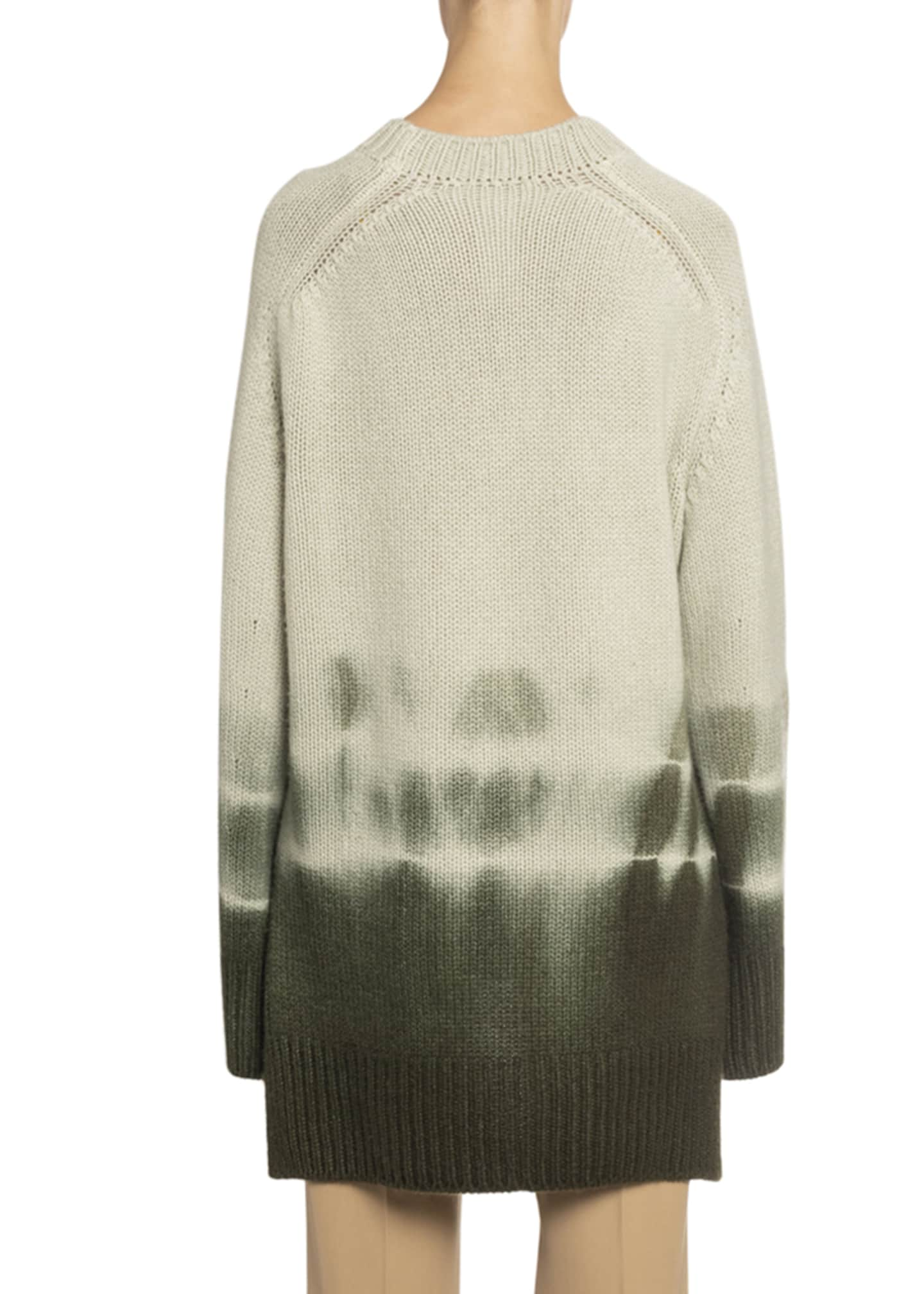 Image 2 of 2: Tie-Dye High-Low Chunky Cashmere Sweater