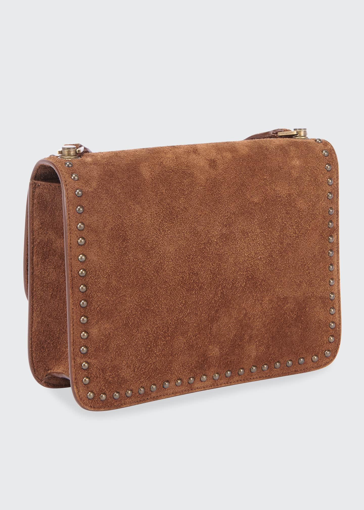 Image 2 of 3: Carre Medium Studded Suede Crossbody Bag
