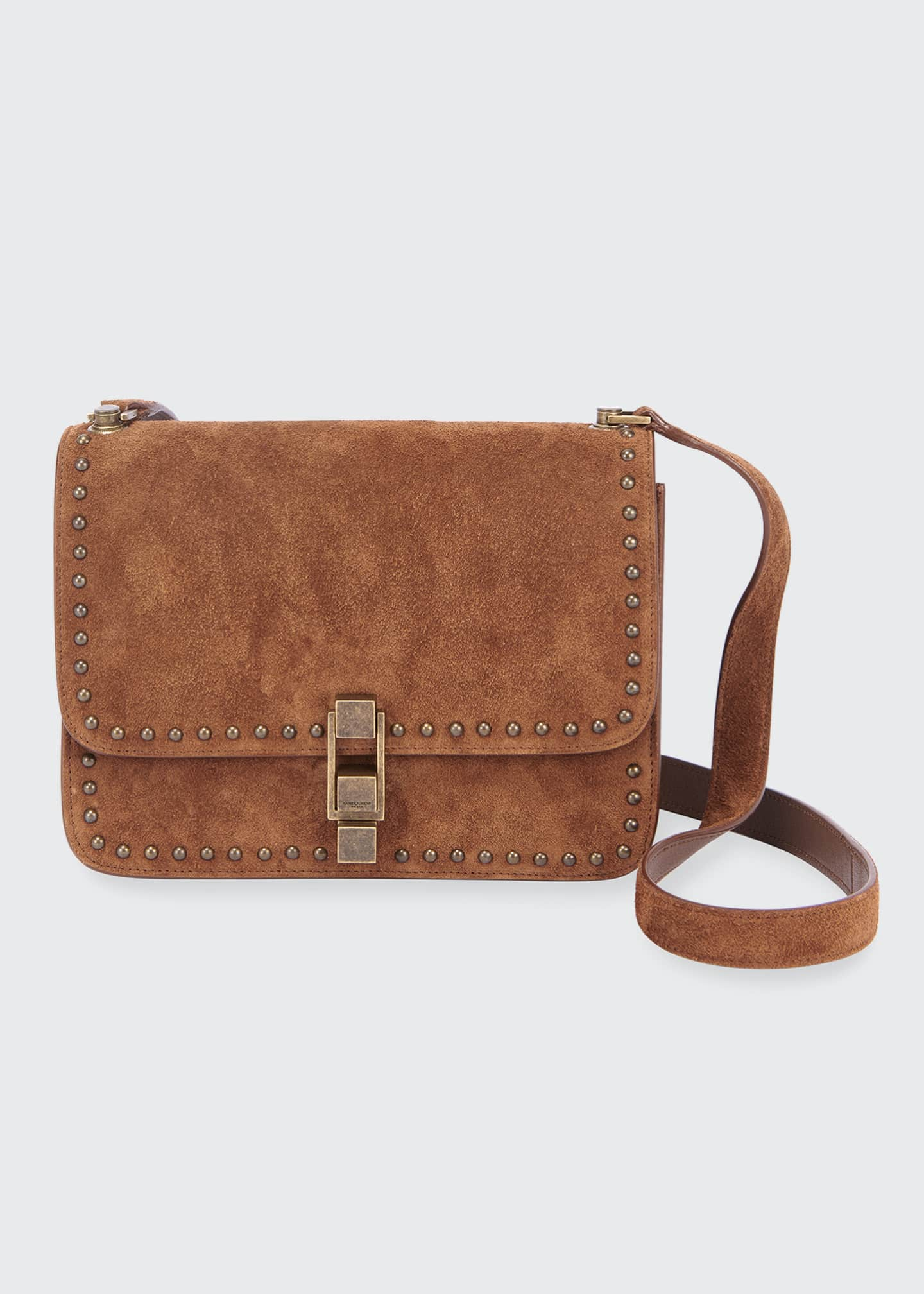 Image 1 of 3: Carre Medium Studded Suede Crossbody Bag