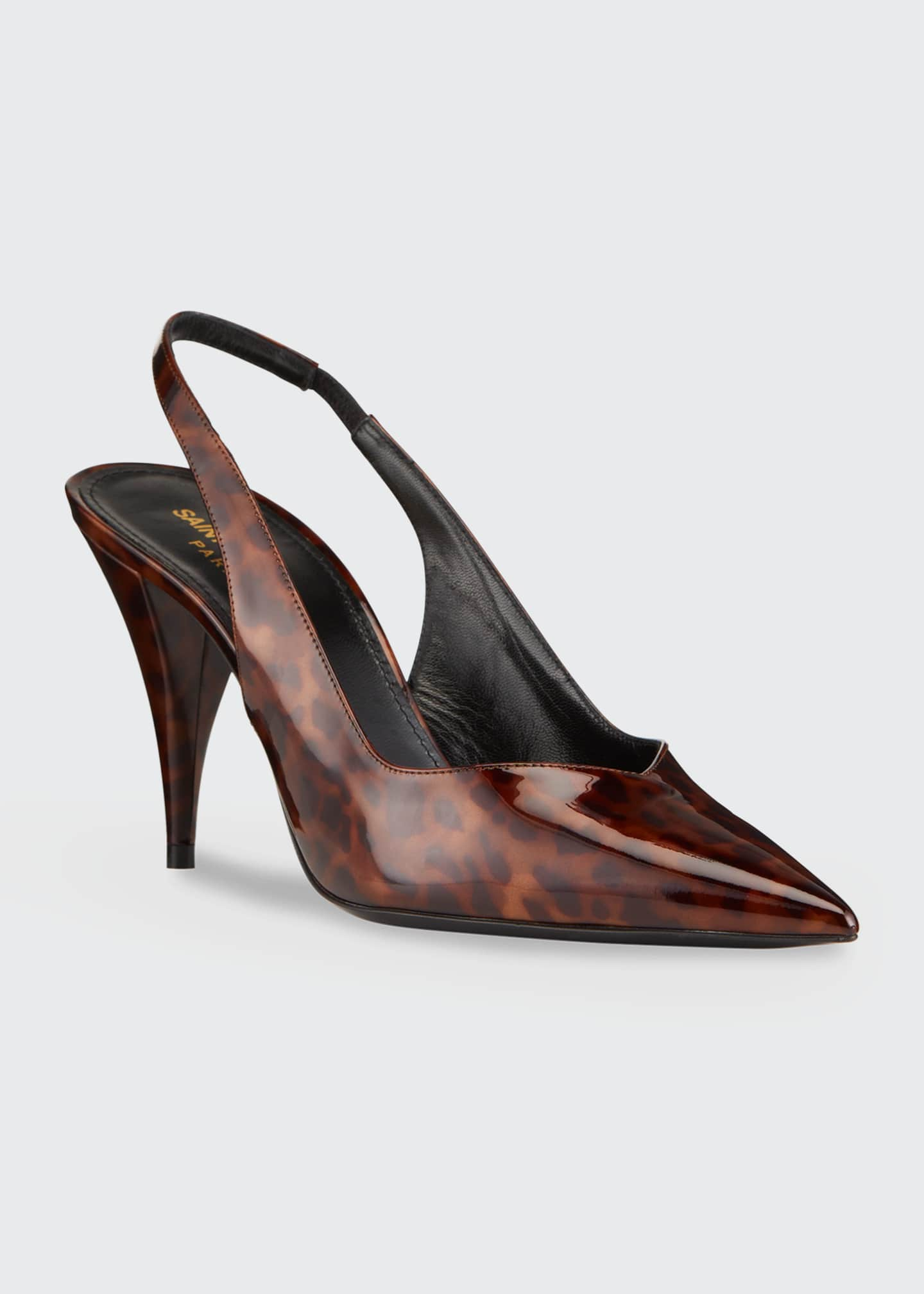 Image 2 of 4: Kiki 85mm Tortoise Patent Slingback Pumps