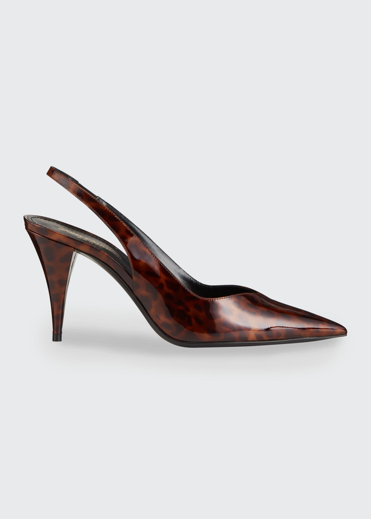 Image 1 of 4: Kiki 85mm Tortoise Patent Slingback Pumps