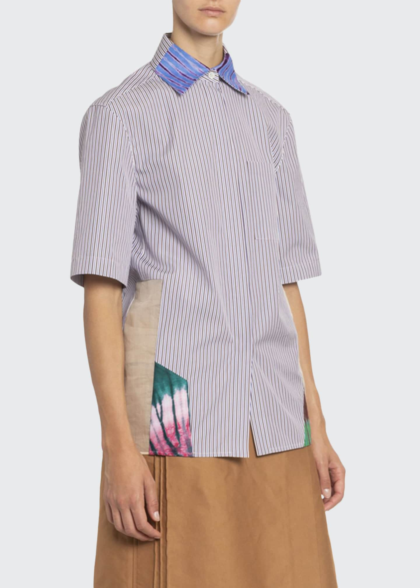 Boon The Shop Artisanal-Patchwork Striped Short-Sleeve Shirt