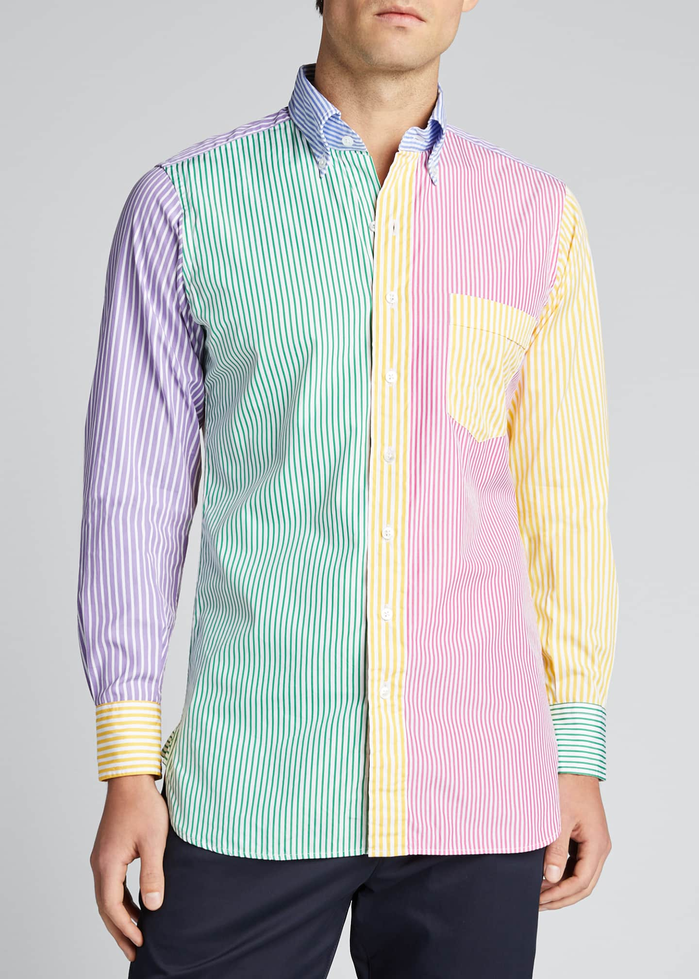 Image 3 of 5: Men's Multicolor Striped Sport Shirt