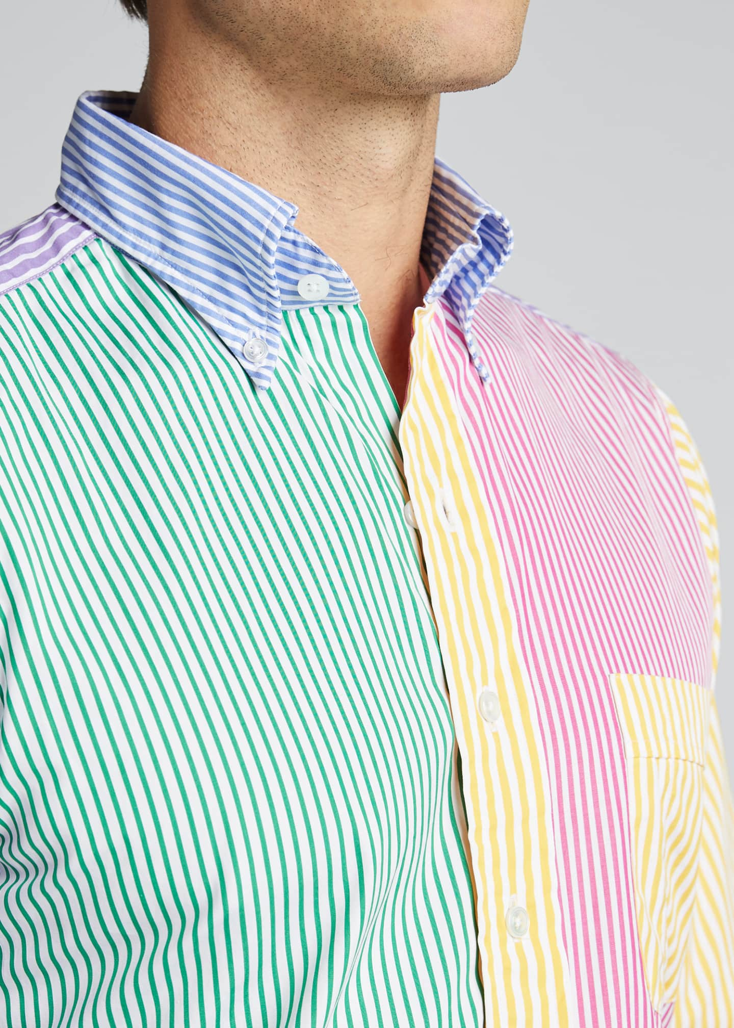Image 4 of 5: Men's Multicolor Striped Sport Shirt