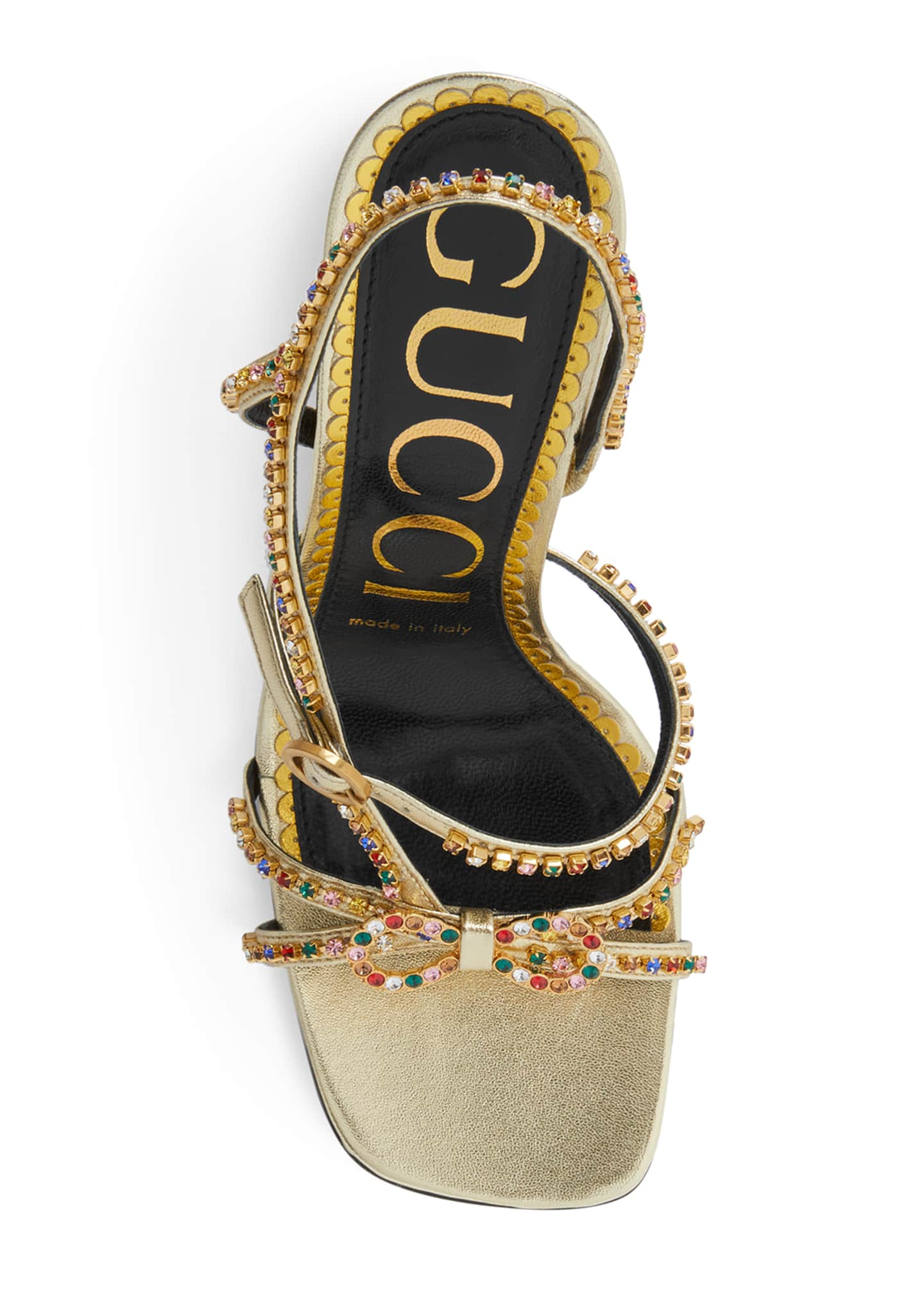 Image 4 of 4: Carmen 105mm Leather Sandals with Crystals