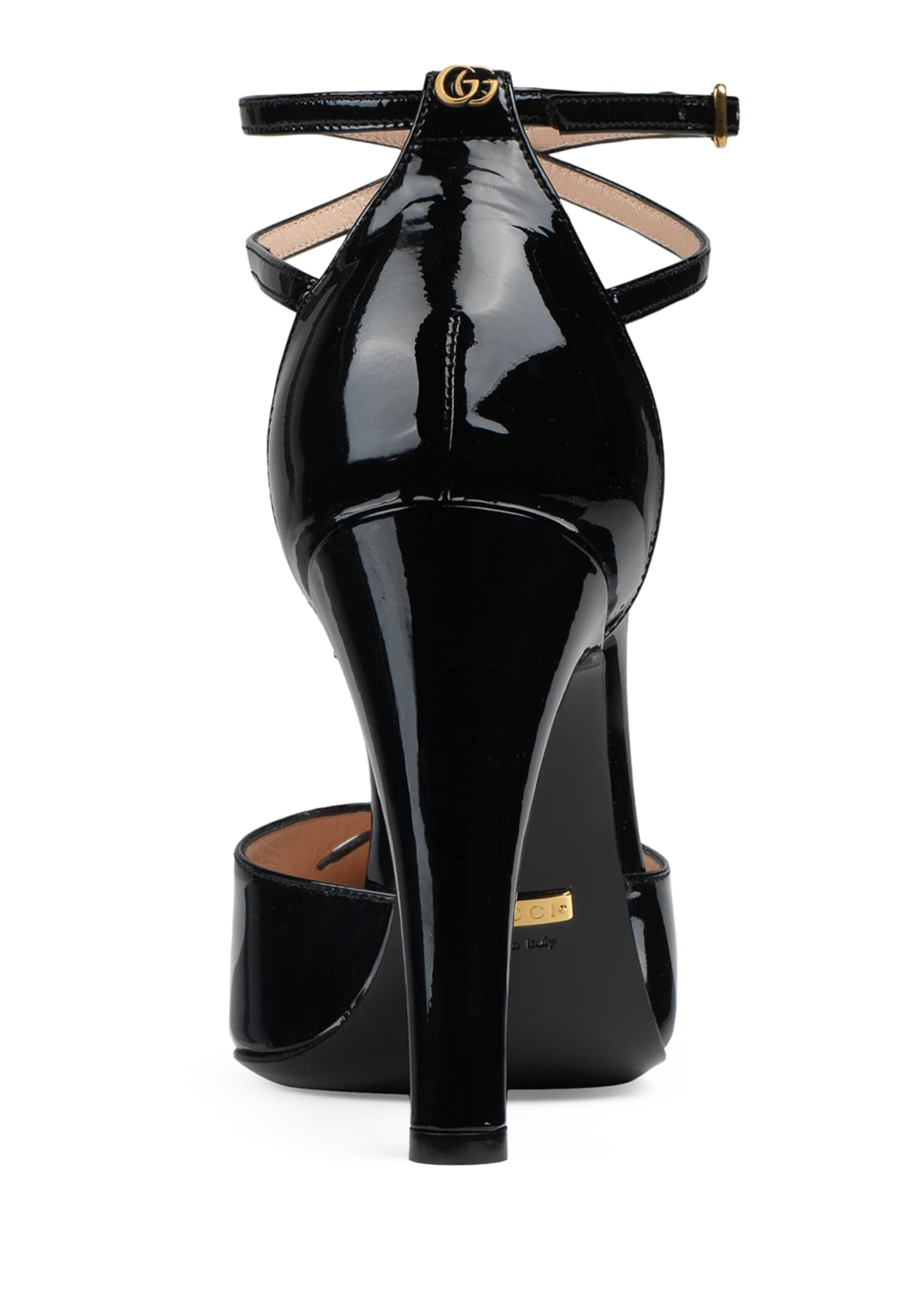 Image 3 of 4: Indya 105mm Patent Ankle-Strap Pumps