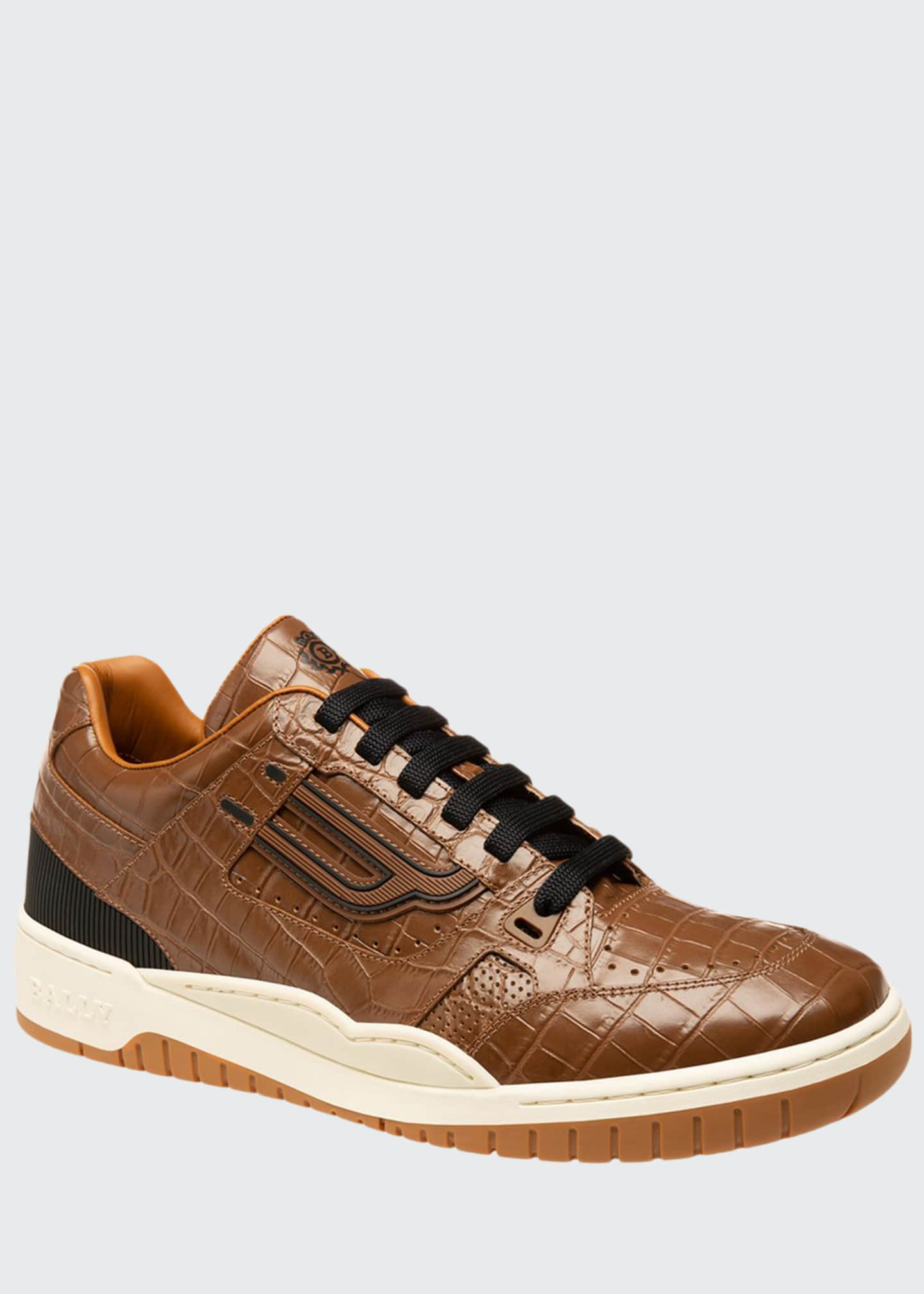 Bally Men's Kuba Croc-Embossed Leather Sneakers
