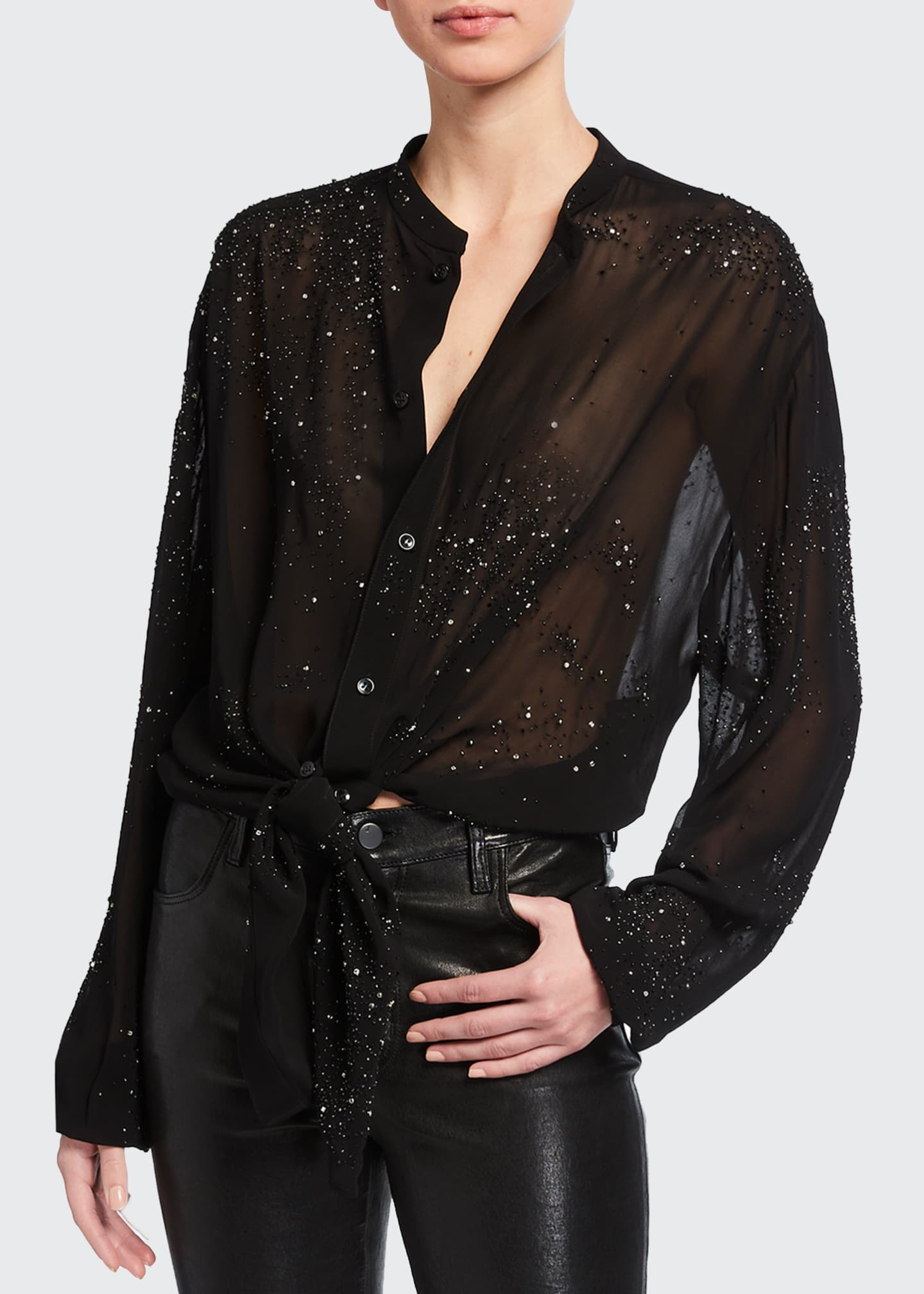 Image 1 of 2: Sheer Collarless Button-Down Blouse