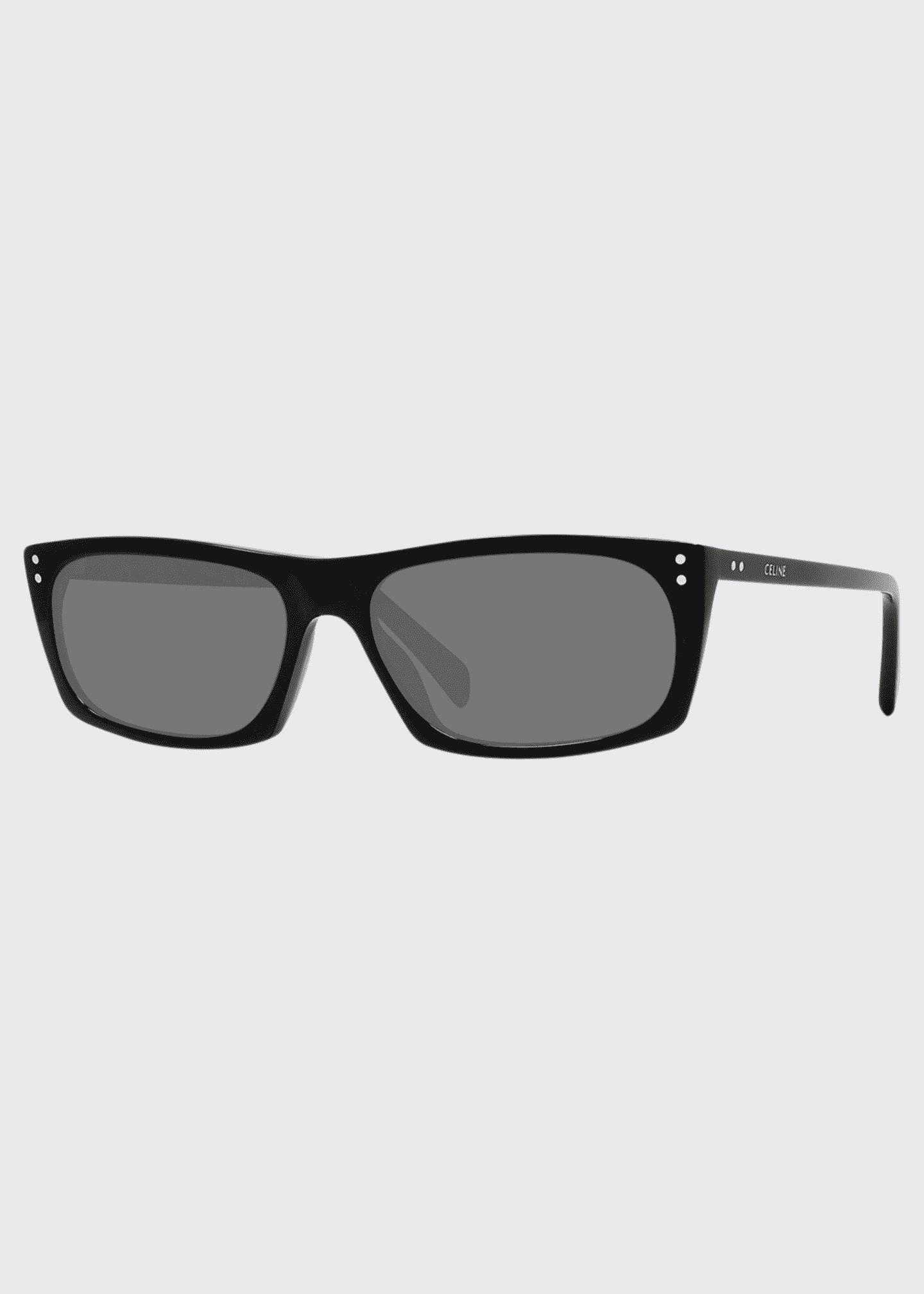 Celine Men's Rectangle Studded Acetate Sunglasses