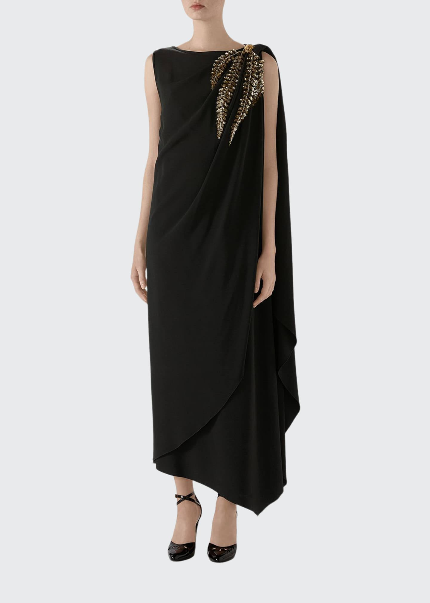 Gucci Crystal Embroidered One-Sleeve Jersey Dress