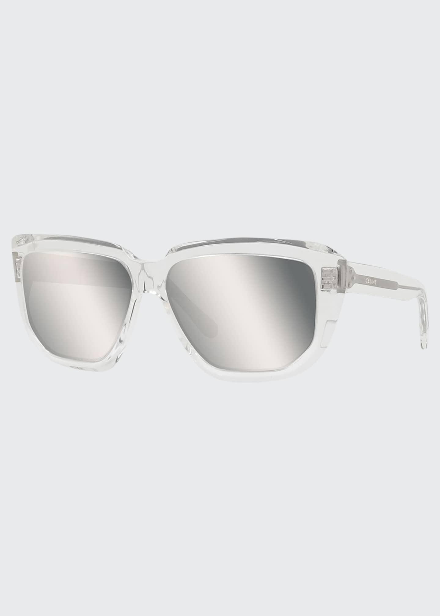 Celine Men's Mirrored Square Transparent Acetate Sunglasses