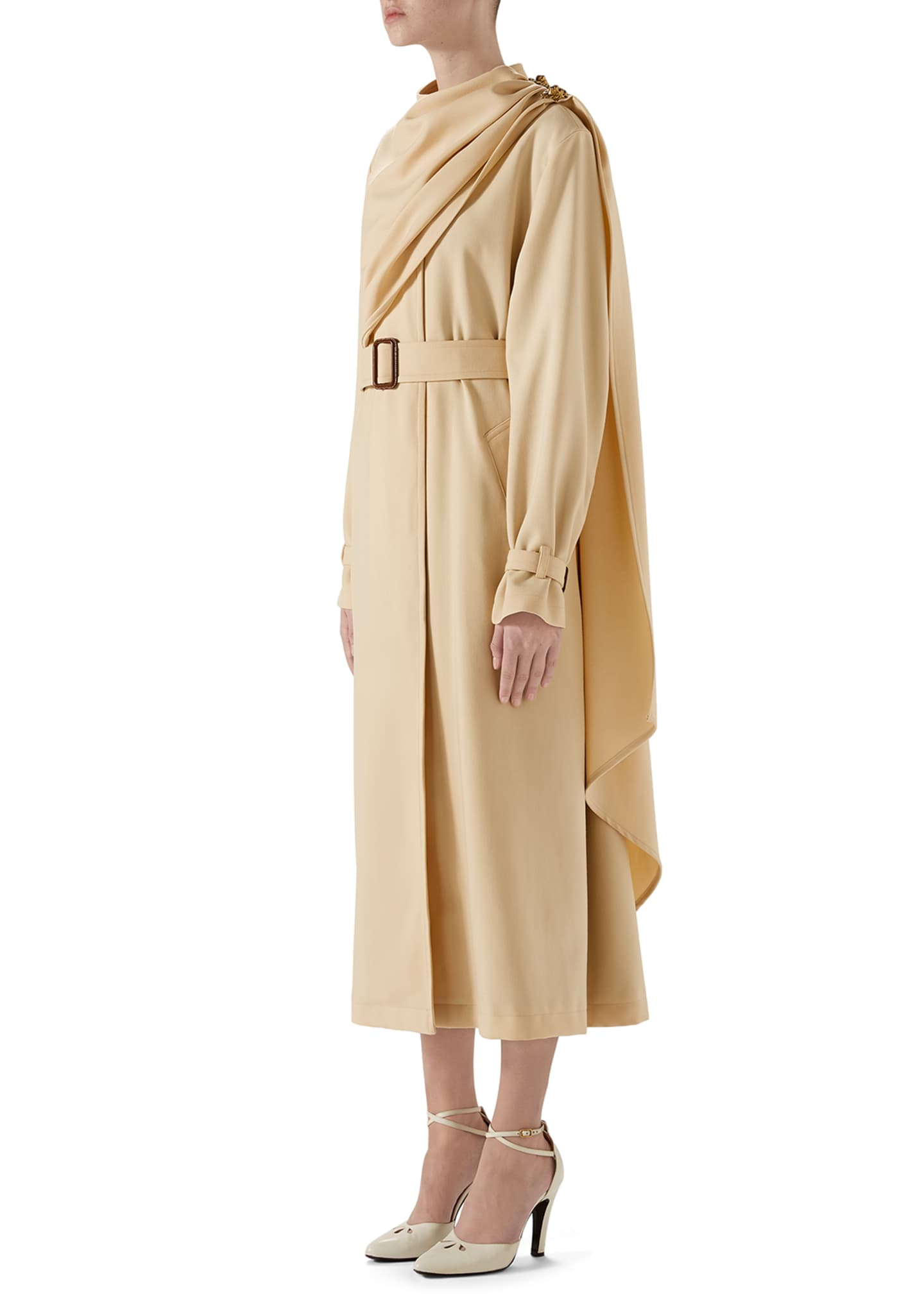 Image 2 of 4: Wool Coat with Draped Scarf