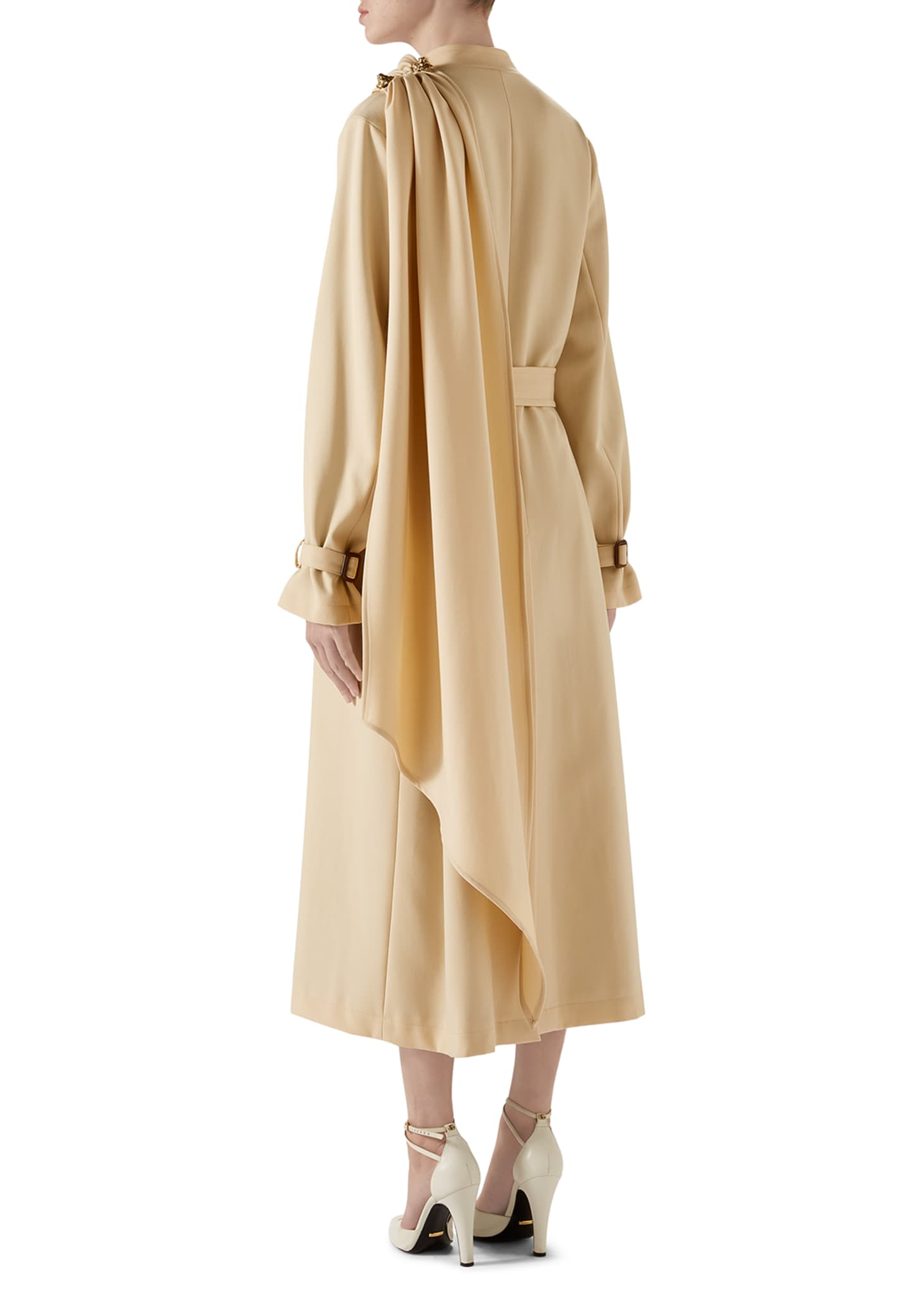 Image 3 of 4: Wool Coat with Draped Scarf