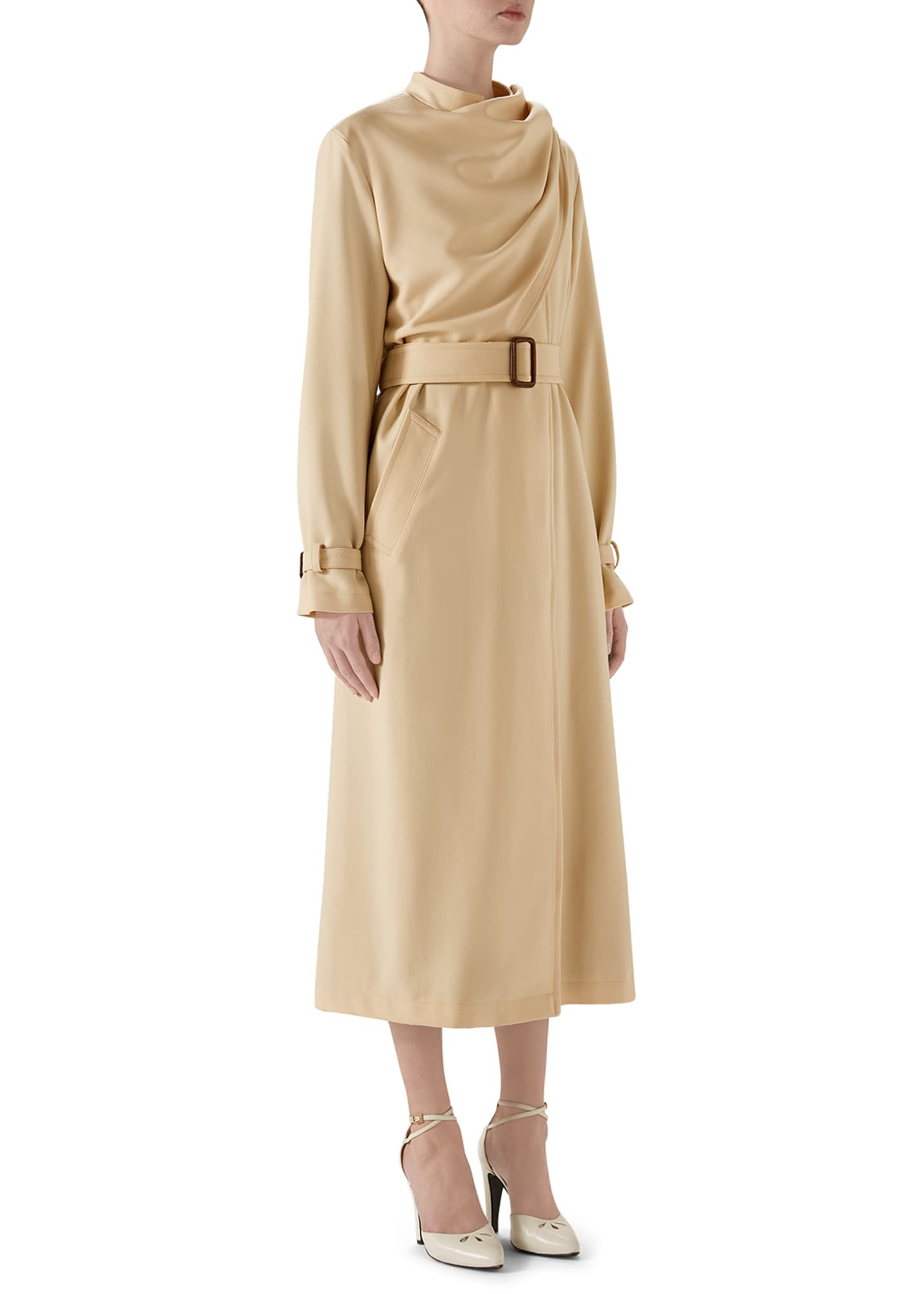 Image 4 of 4: Wool Coat with Draped Scarf