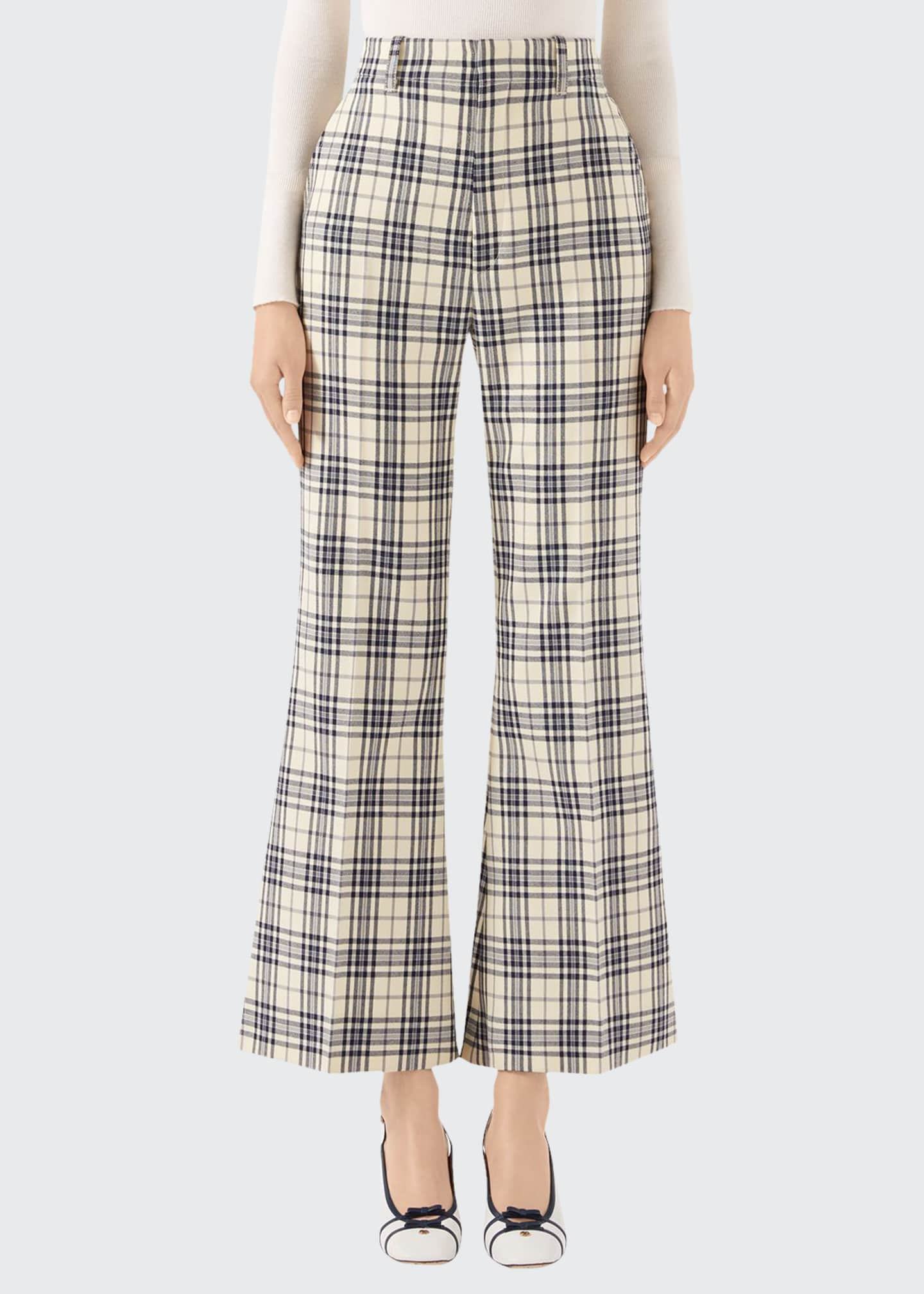 Gucci 70s Madras-Checked Wool Fare Pants