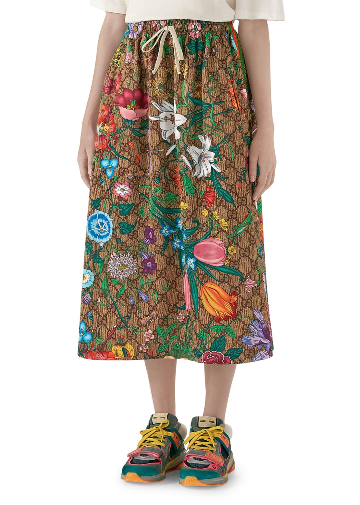 Gucci Drawstring Flora Jersey GG Midi Skirt