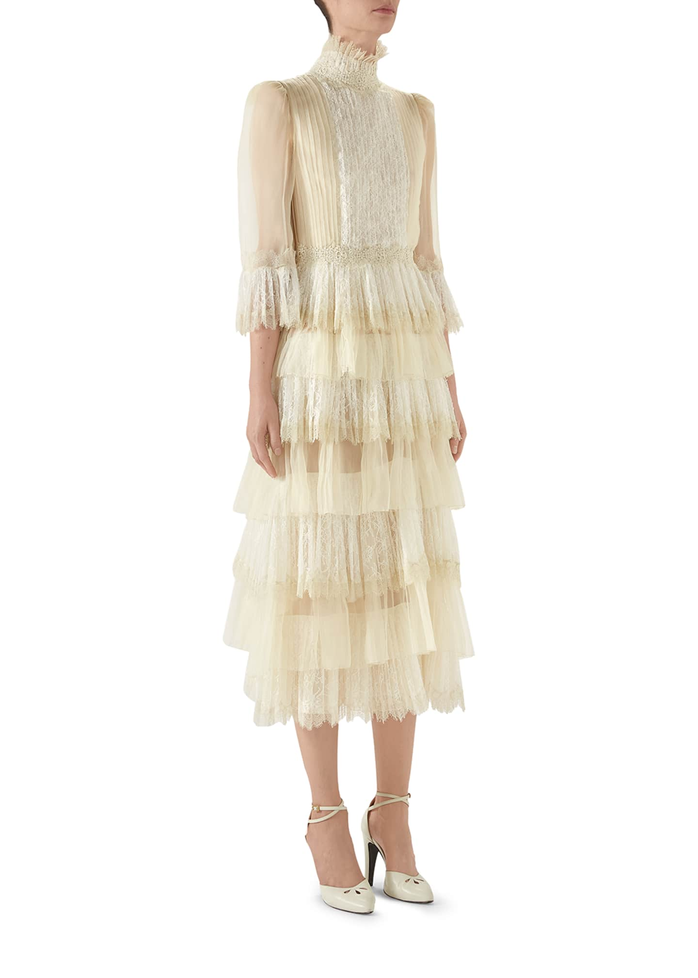 Gucci Long-Sleeve Tiered Tulle Dress
