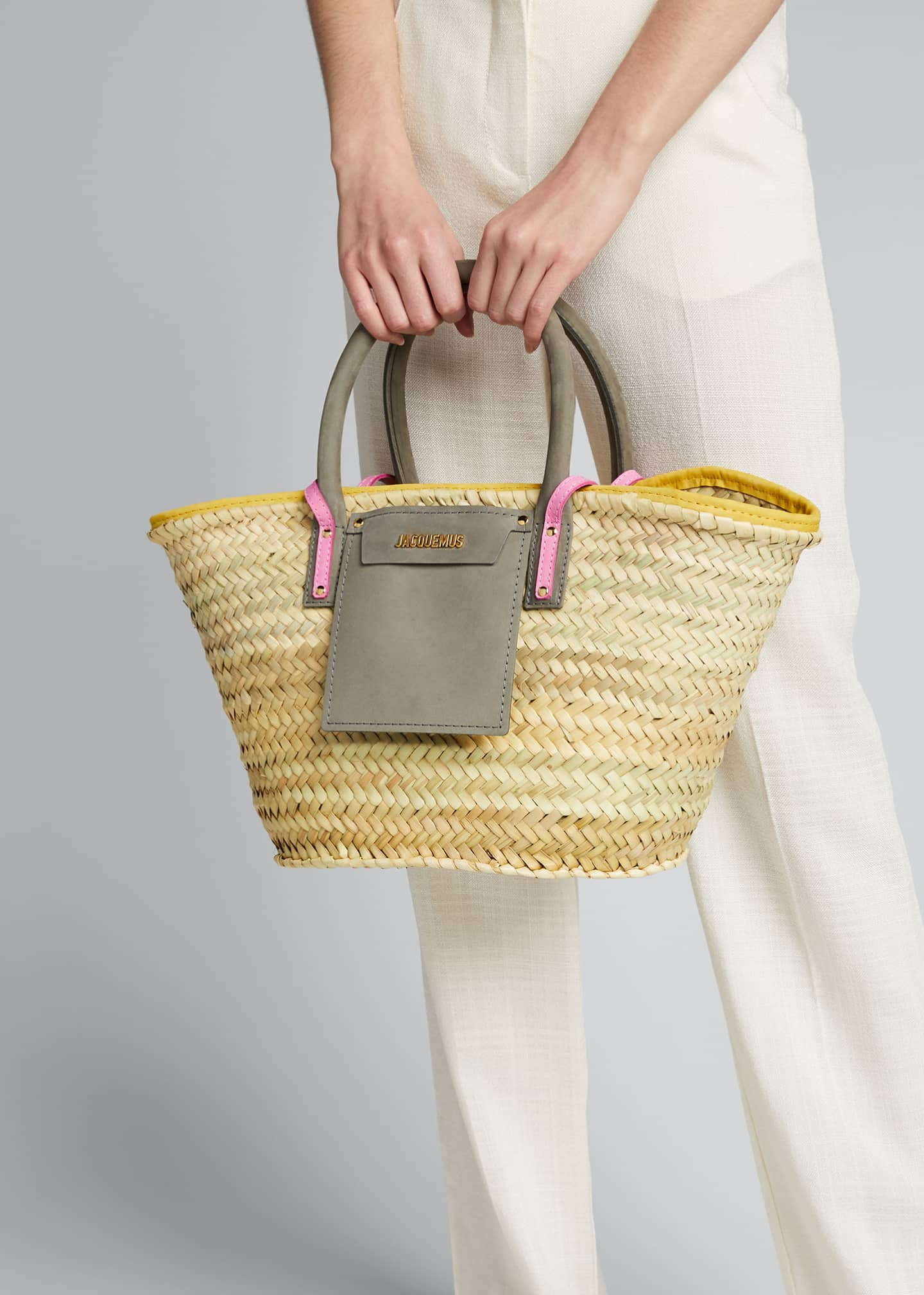 Image 2 of 5: Woven Colorblock Basket Tote Bag