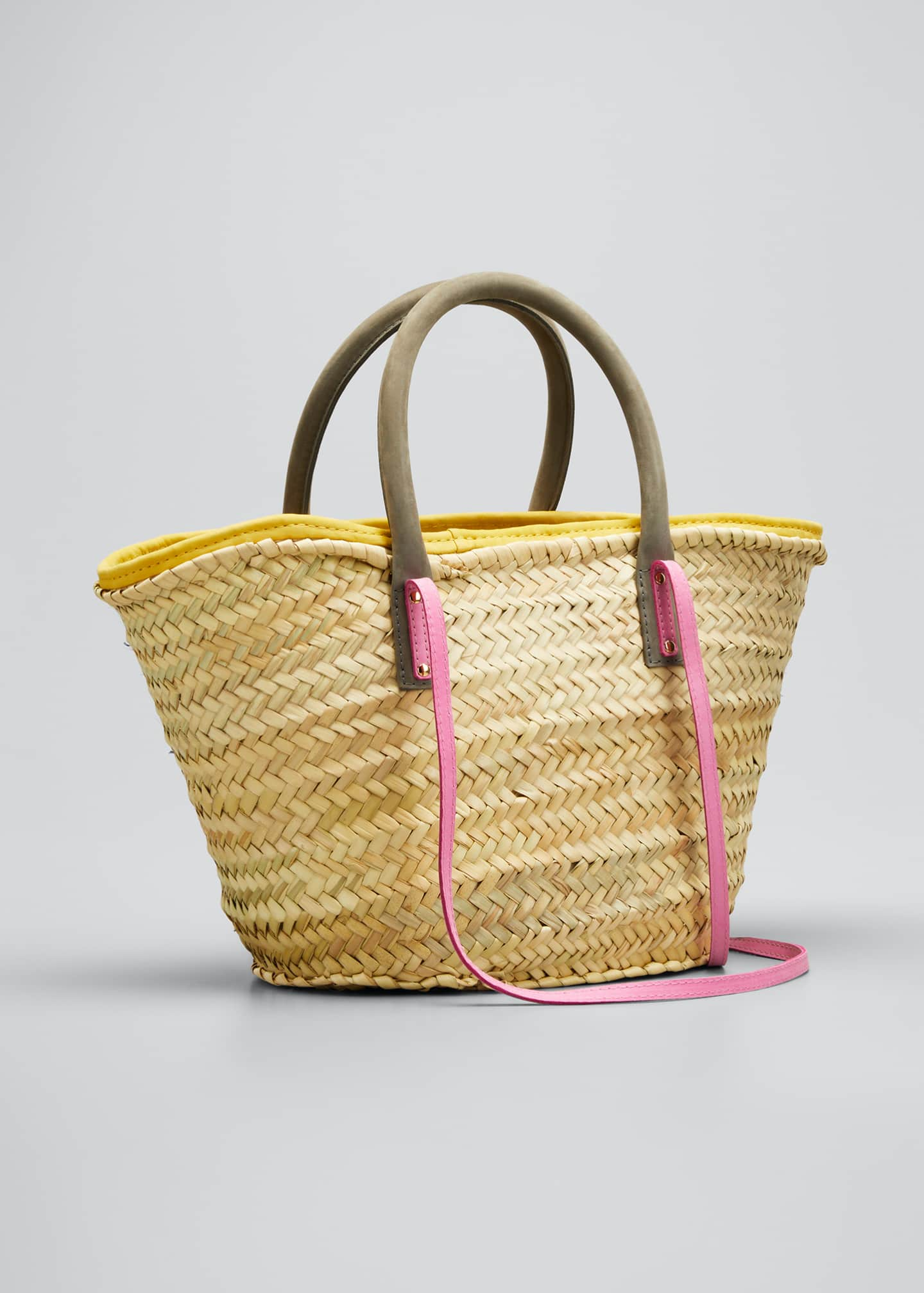 Image 3 of 5: Woven Colorblock Basket Tote Bag