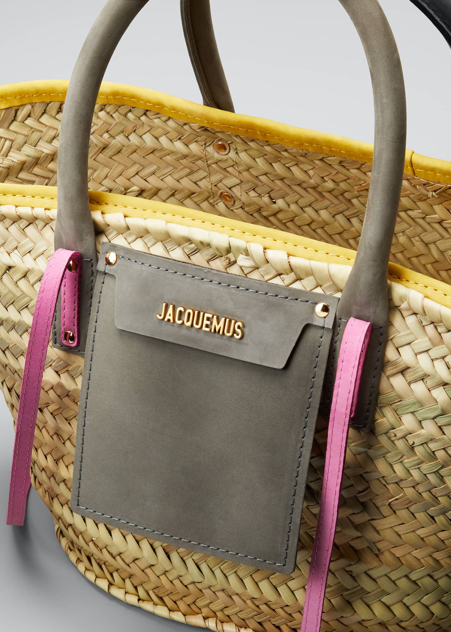 Image 4 of 5: Woven Colorblock Basket Tote Bag