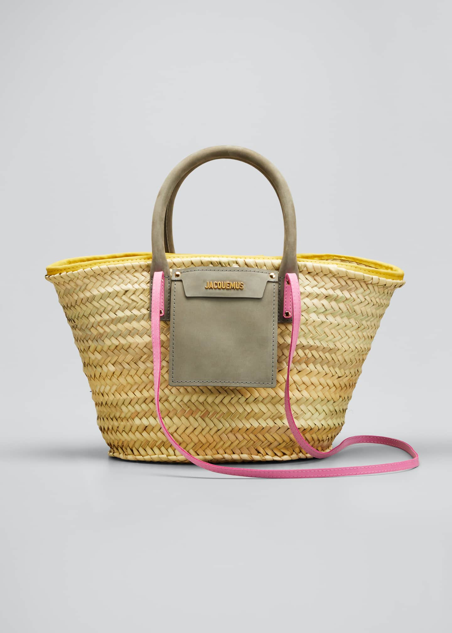 Image 1 of 5: Woven Colorblock Basket Tote Bag