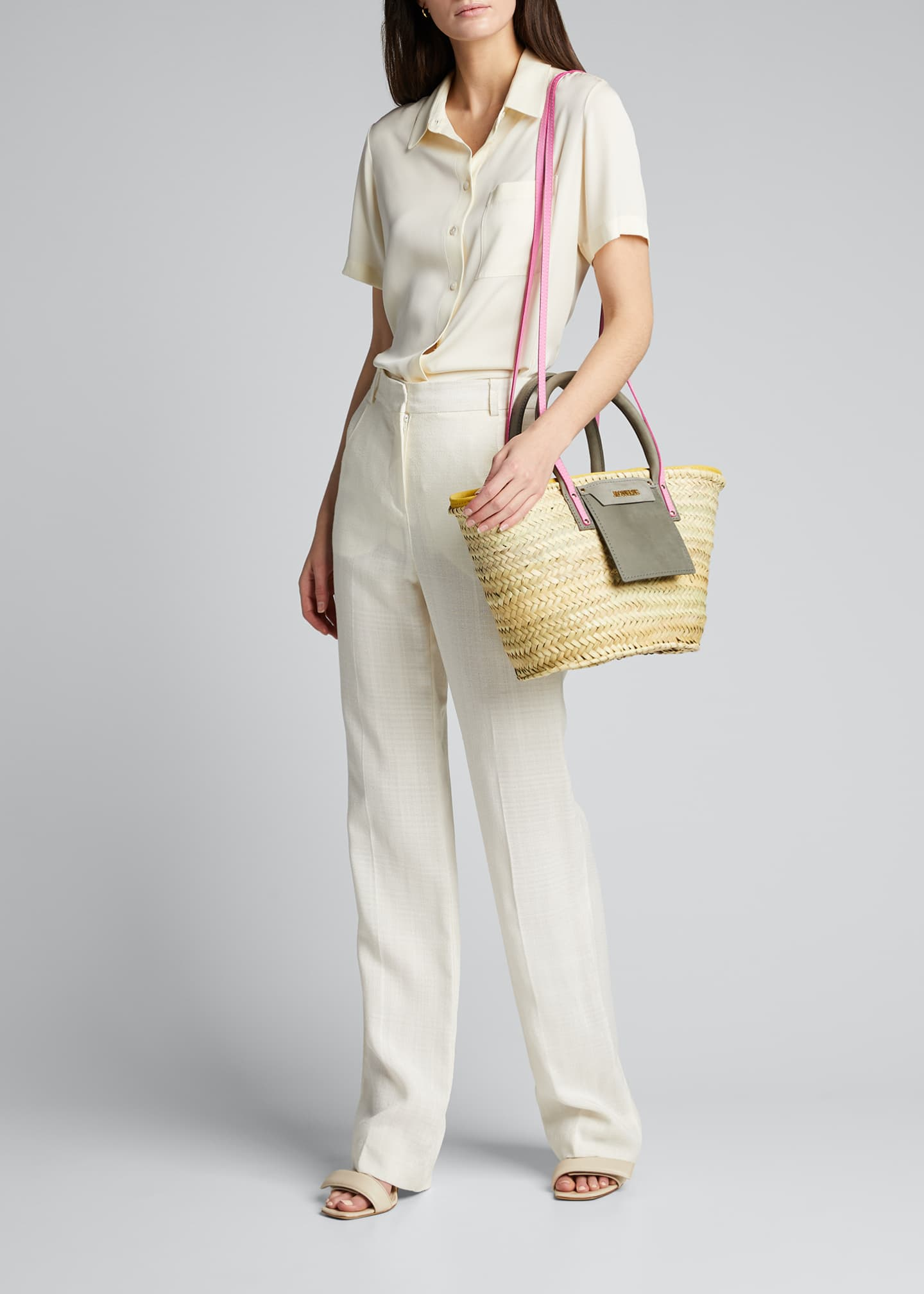 Image 5 of 5: Woven Colorblock Basket Tote Bag