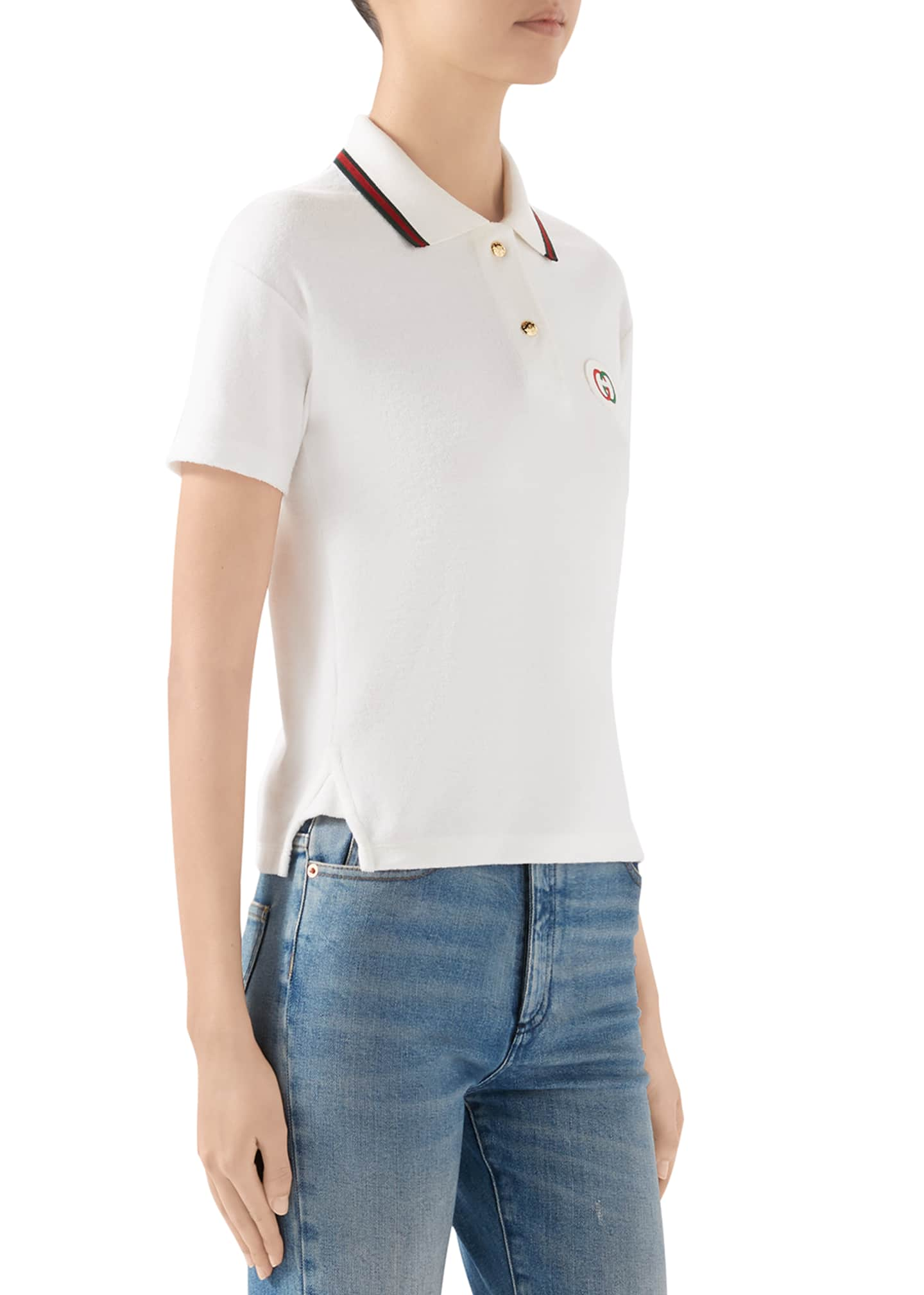 Image 2 of 4: Short-Sleeve Terry Cloth Tennis Polo Top