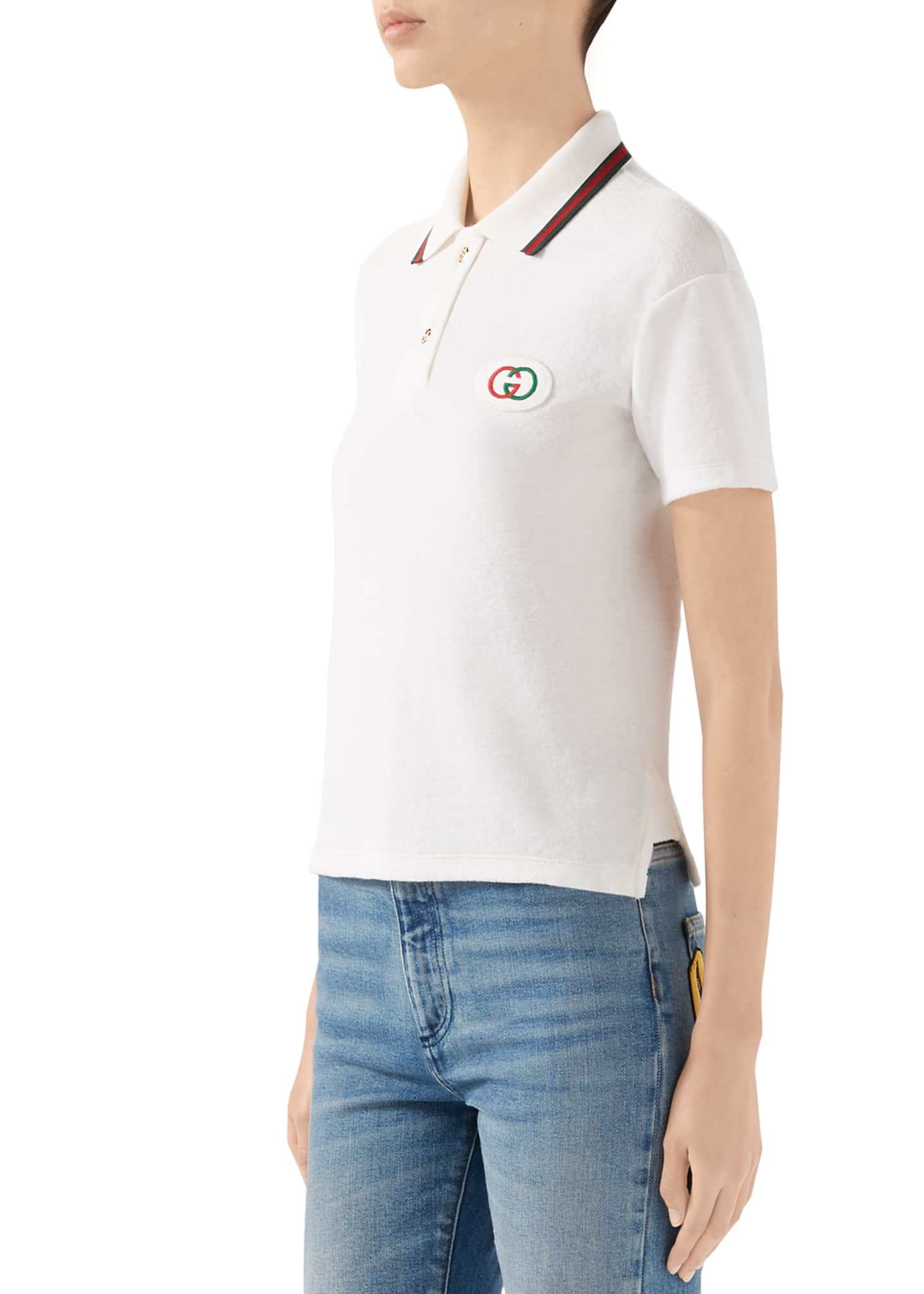 Image 4 of 4: Short-Sleeve Terry Cloth Tennis Polo Top