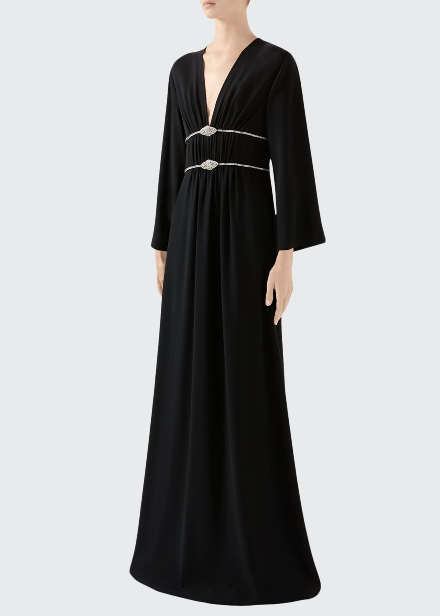 Gucci Long-Sleeve Jersey V-neck Gown With Crystal Embroidered