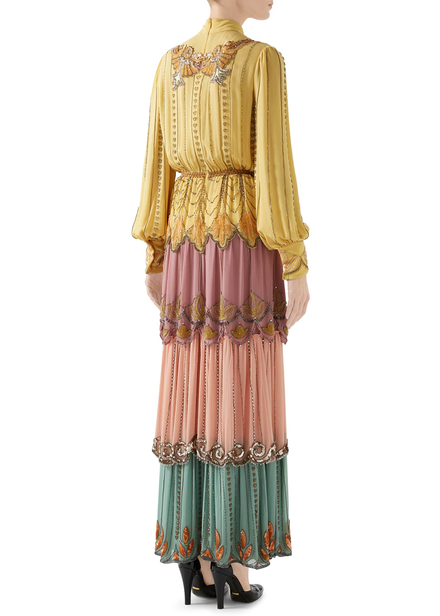 Image 3 of 4: Long-Sleeve Tiered Embroidered Silk Colorblock Gown
