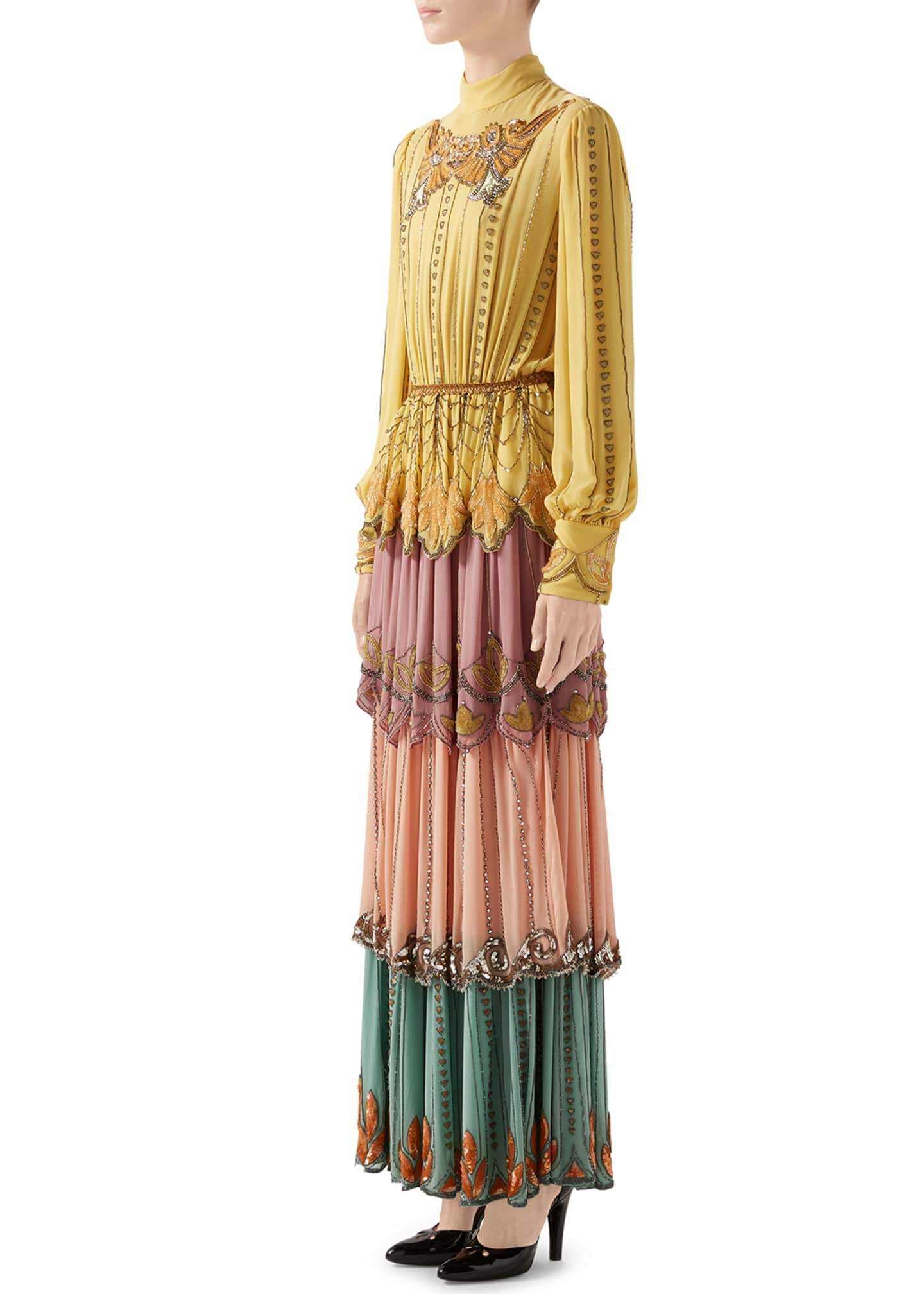 Image 4 of 4: Long-Sleeve Tiered Embroidered Silk Colorblock Gown