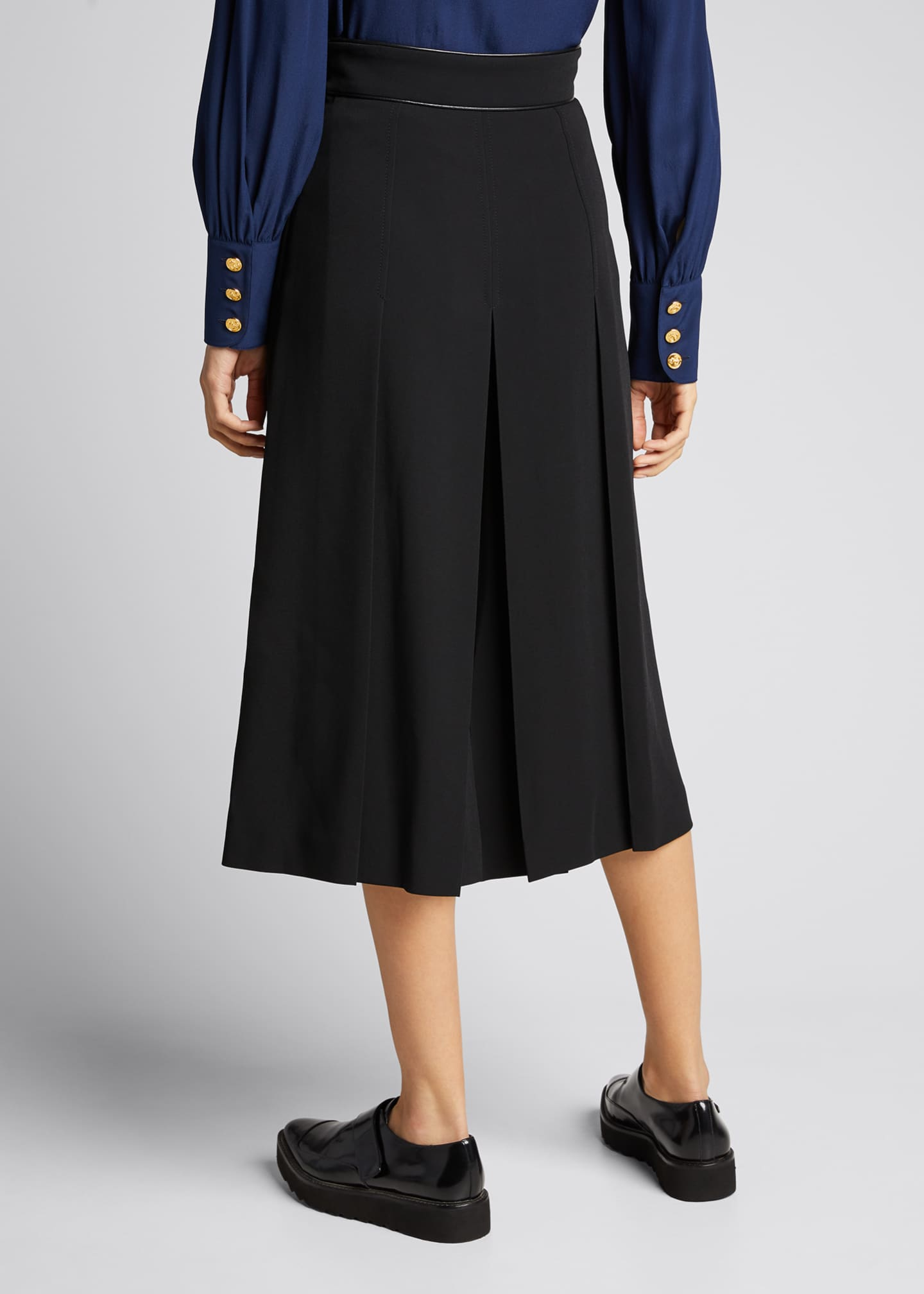Image 2 of 5: Viscose Cady Pleated Skirt with Horsebit Detail